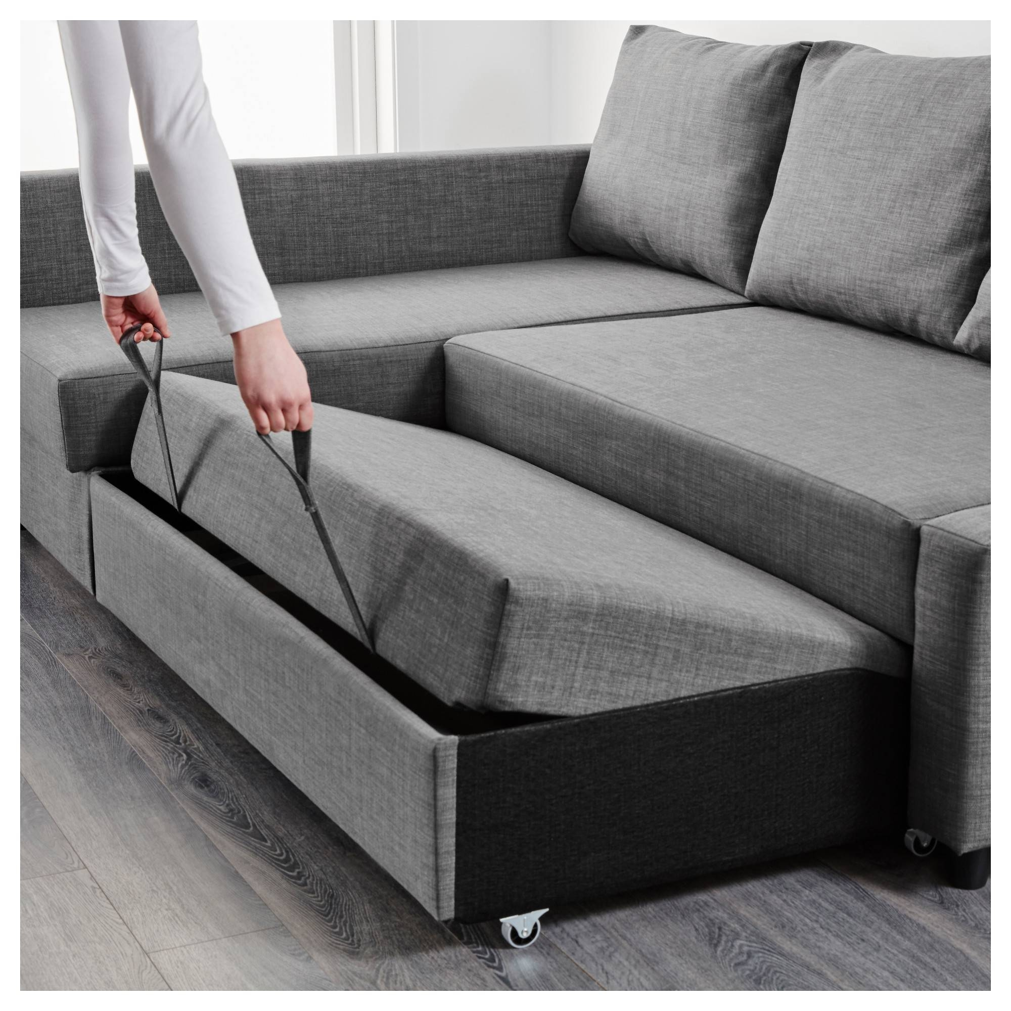 Friheten Corner Sofa-Bed With Storage Skiftebo Dark Grey - Ikea with Ikea Sofa Storage (Image 7 of 25)