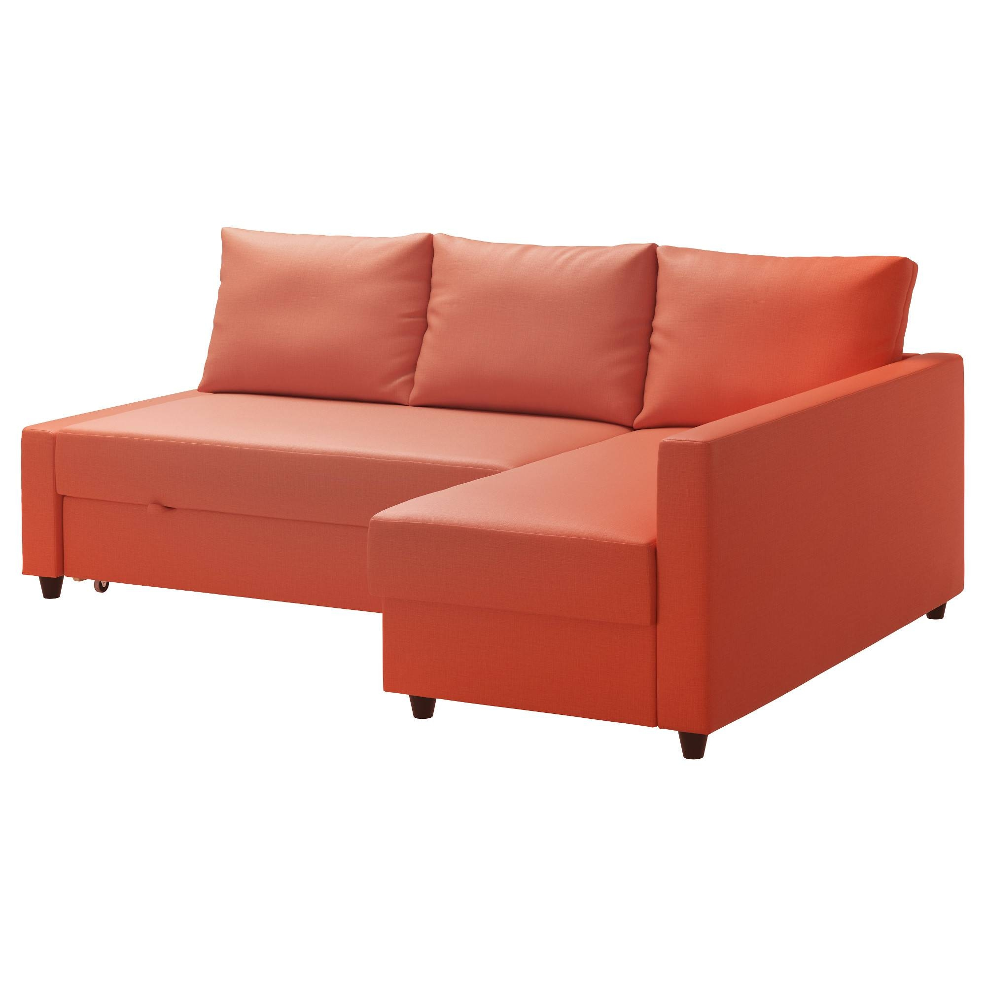 Friheten Corner Sofa-Bed With Storage Skiftebo Dark Orange - Ikea in Orange Ikea Sofas (Image 9 of 30)