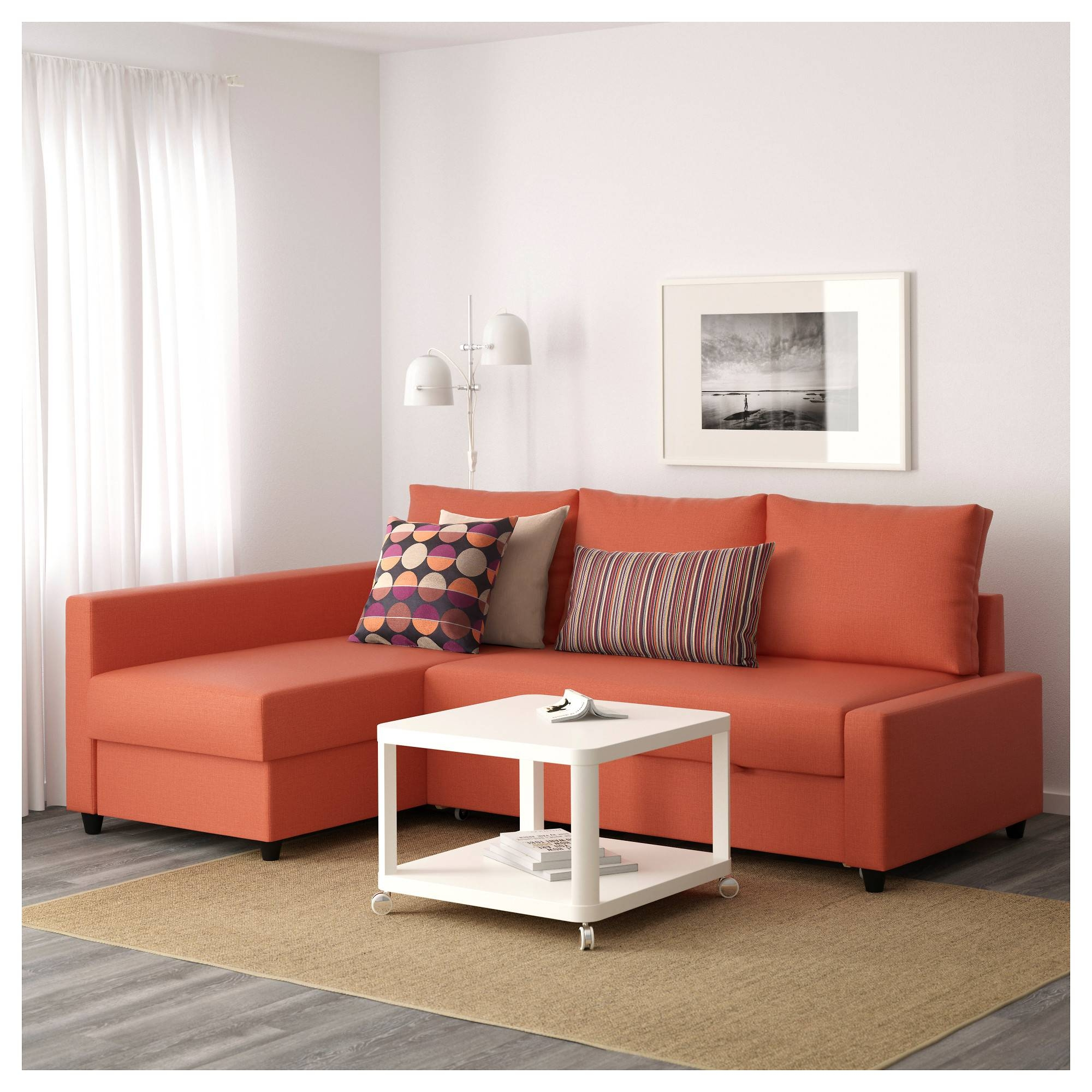 Friheten Corner Sofa-Bed With Storage Skiftebo Dark Orange - Ikea regarding Orange Ikea Sofas (Image 10 of 30)