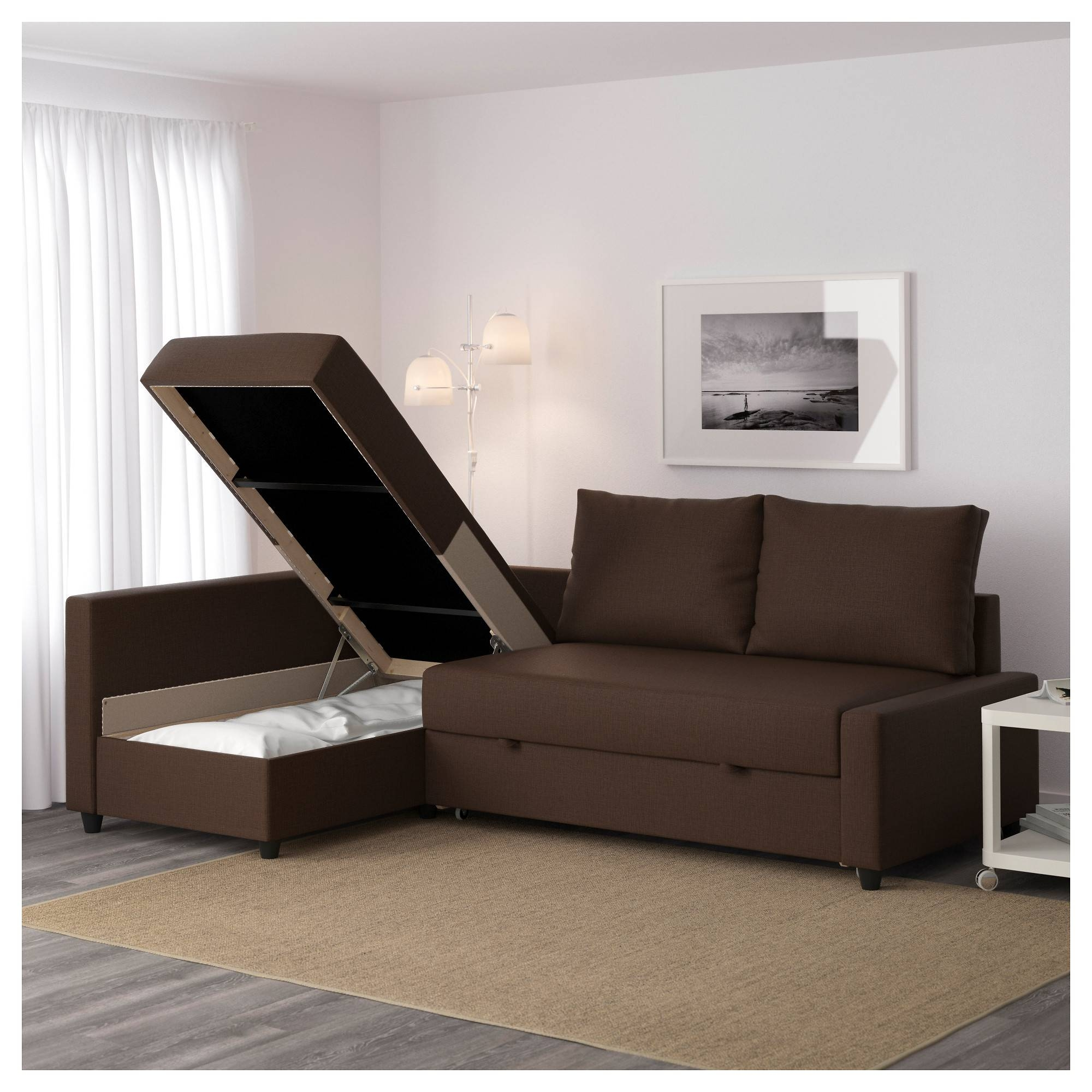 Friheten Sleeper Sectional,3 Seat W/storage - Skiftebo Dark Gray throughout Ikea Single Sofa Beds (Image 6 of 30)