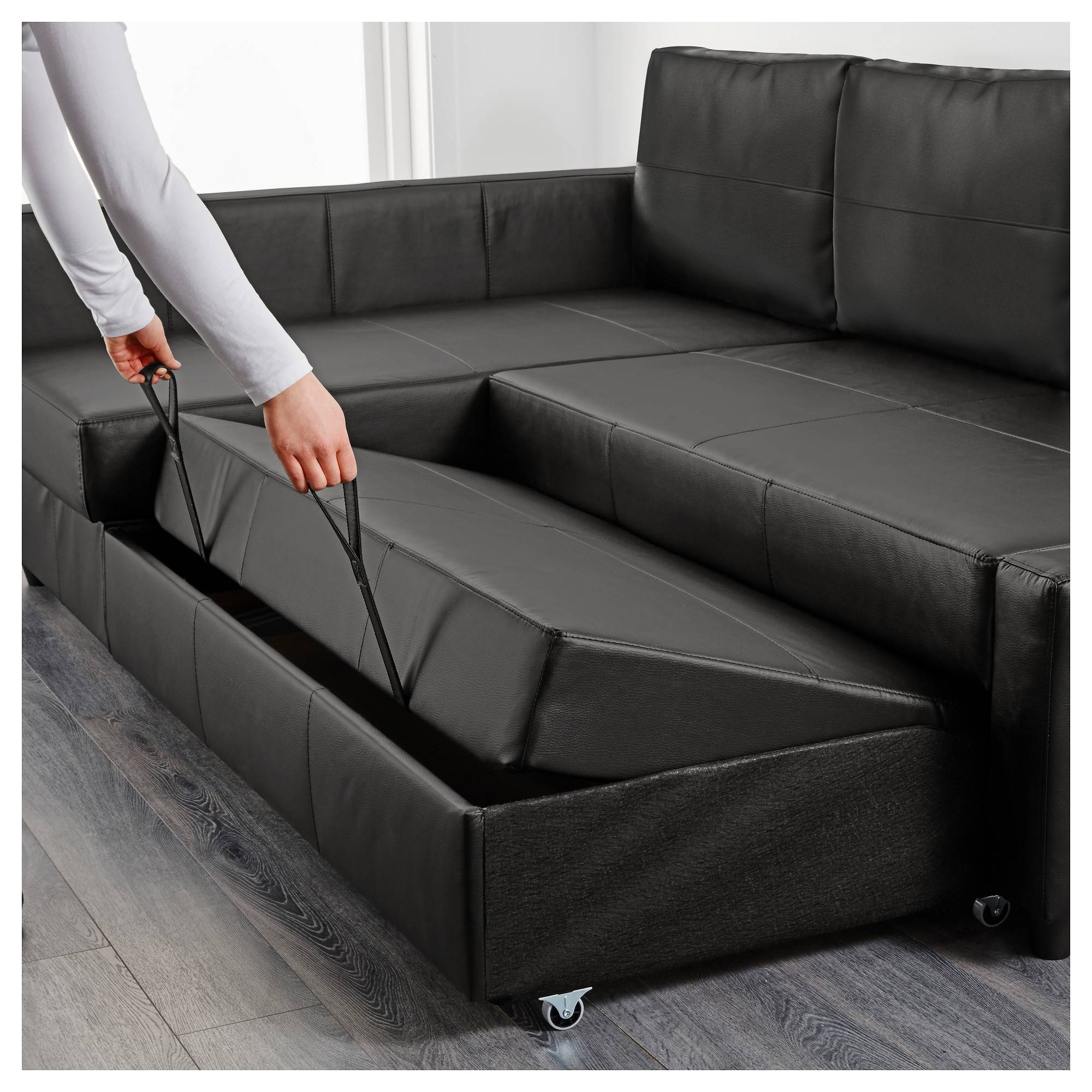 Friheten Sleeper Sectional,3 Seat W/storage - Skiftebo Dark Gray within Leather Sofa Beds With Storage (Image 11 of 30)