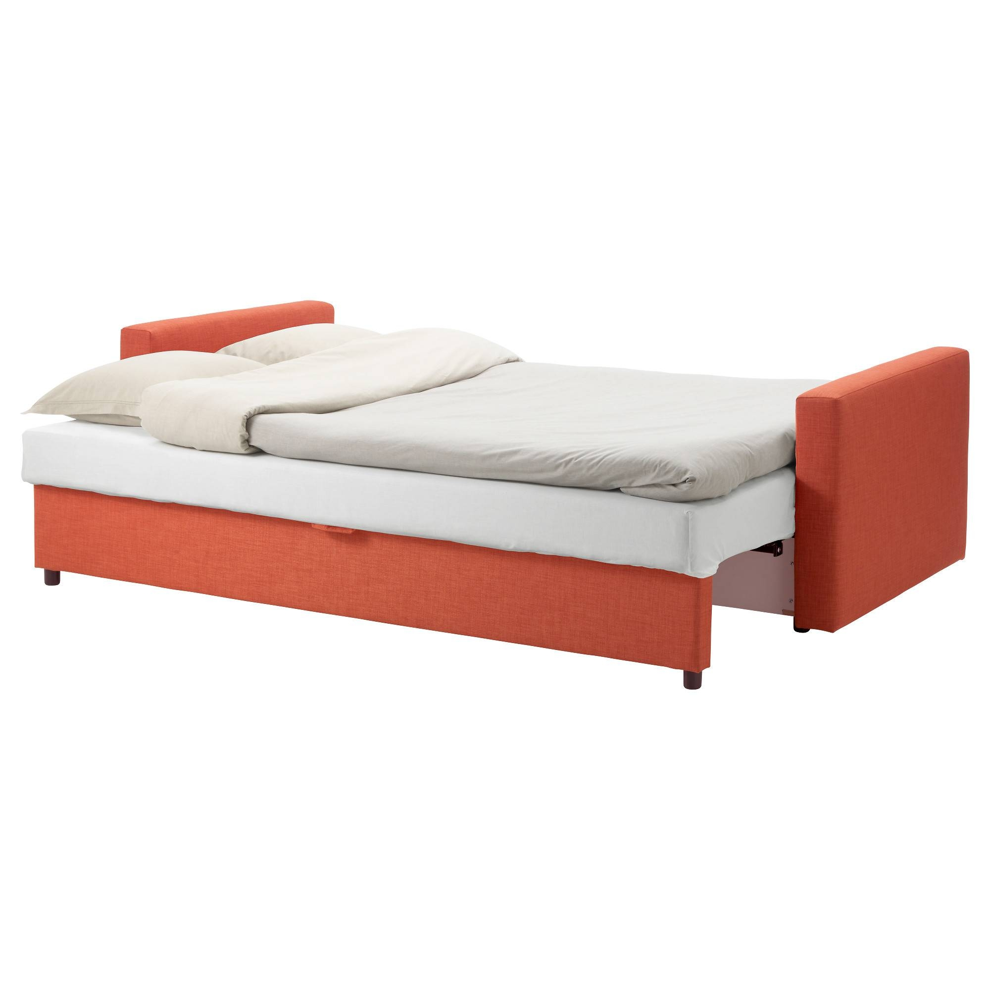 Friheten Three-Seat Sofa-Bed Skiftebo Dark Orange - Ikea throughout Orange Ikea Sofas (Image 13 of 30)
