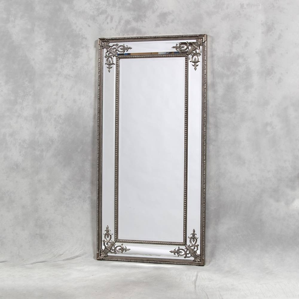 Full Length Silver Cimiero Mirror 183 X 91Cm Silver Cimiero Mirror intended for Silver Ornate Framed Mirrors (Image 6 of 25)