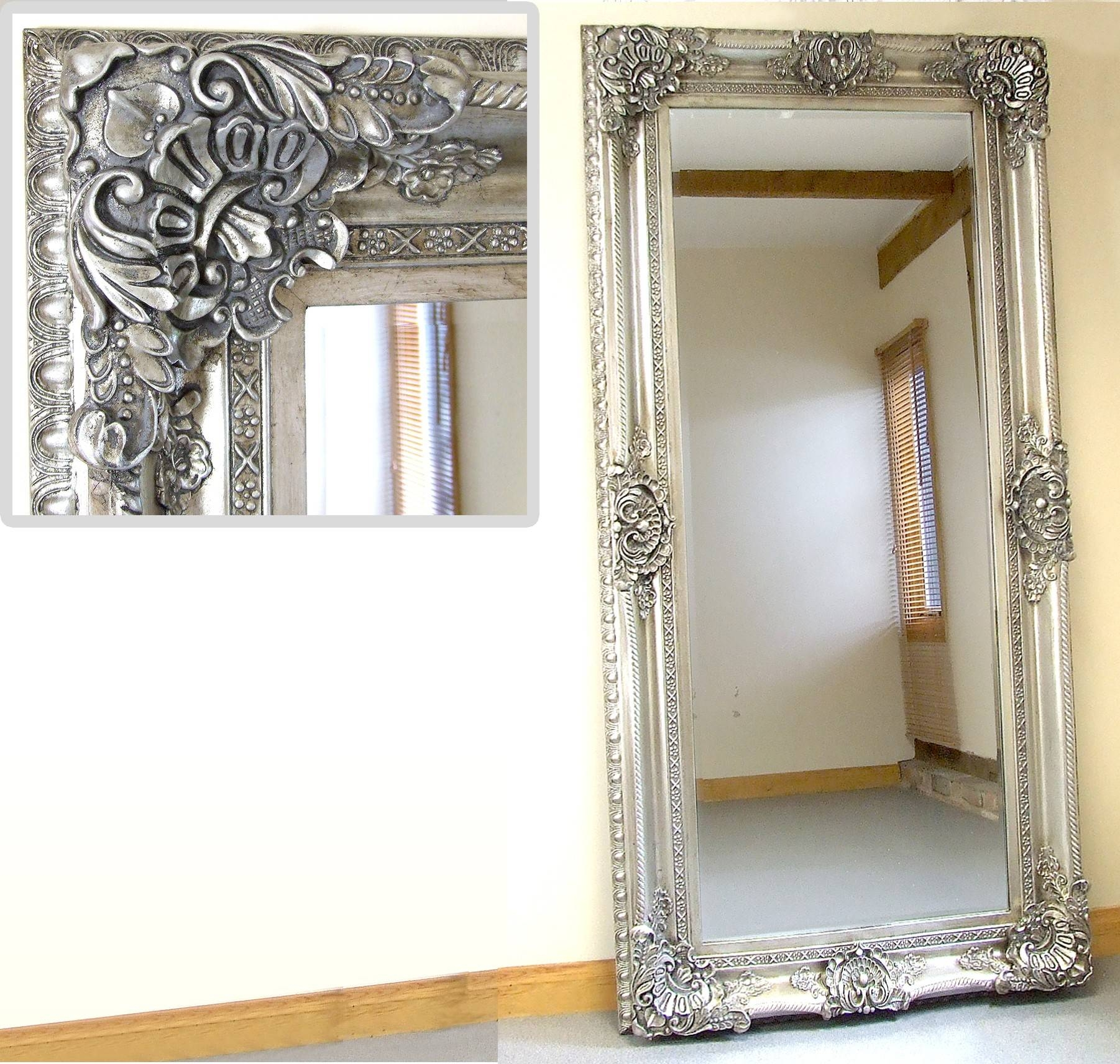 Full Length Silver Mirror 40 Unique Decoration And Ornate Full With Regard To Large Ornate Mirrors (View 6 of 25)