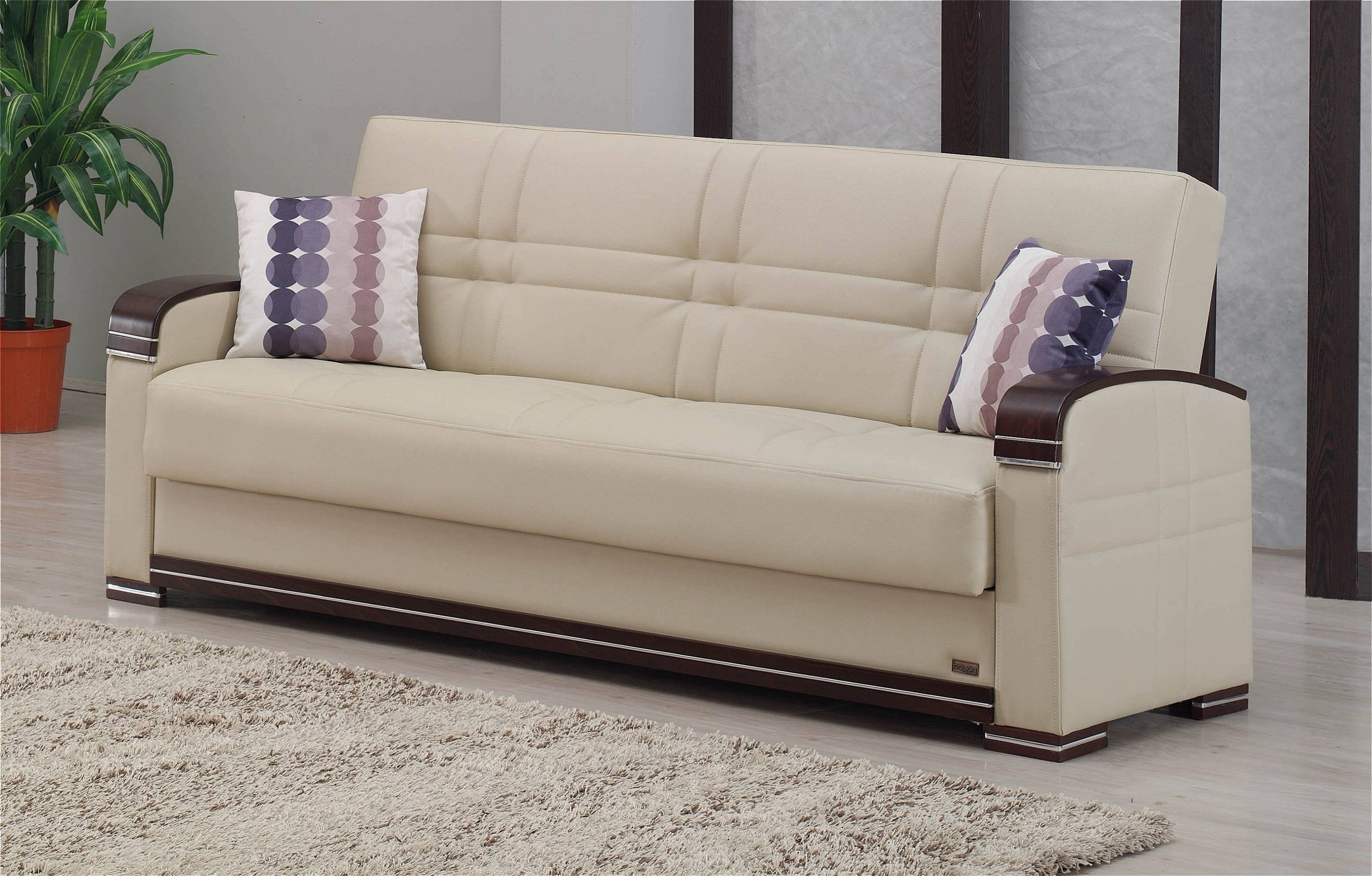 Fulton Cream Leather Sofa Bedempire Furniture Usa in Fulton Sofa Beds (Image 13 of 30)