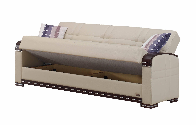 Fulton Cream Leather Sofa Bedempire Furniture Usa regarding Fulton Sofa Beds (Image 14 of 30)