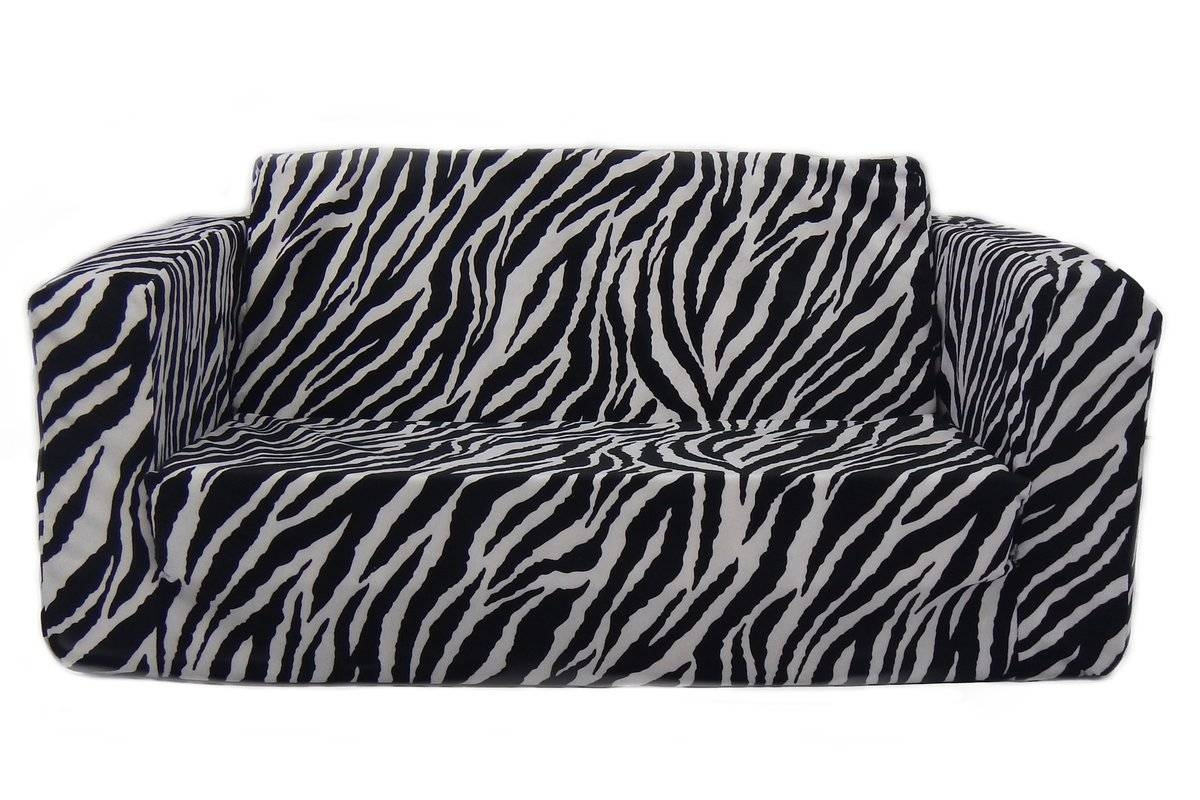 Fun Furnishings Toddler Flip Zebra Kids Sofa Sleeper & Reviews with regard to Kids Sofa Chair and Ottoman Set Zebra (Image 9 of 30)