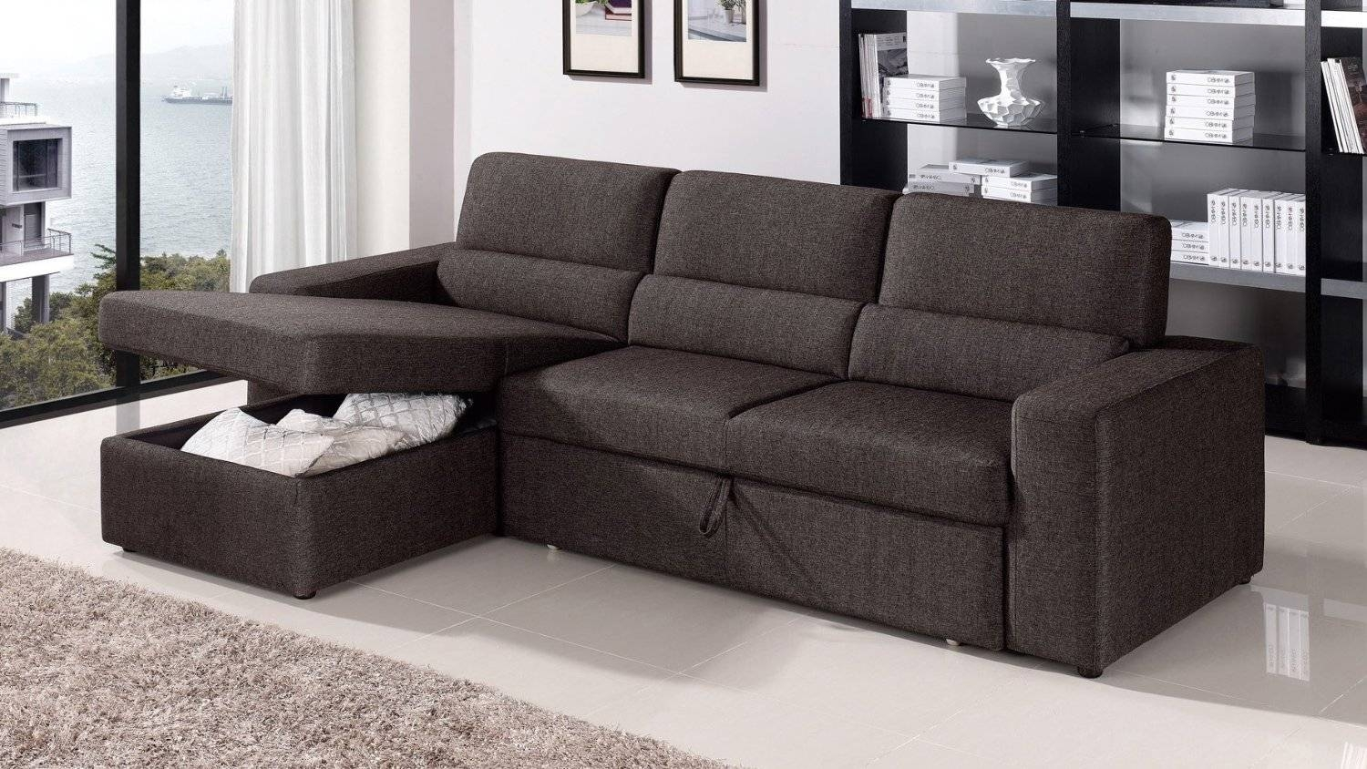 Funiture: Sleeper Sofa Ideas For Living Room Using Black Leather for Black Leather Sectional Sleeper Sofas (Image 10 of 30)