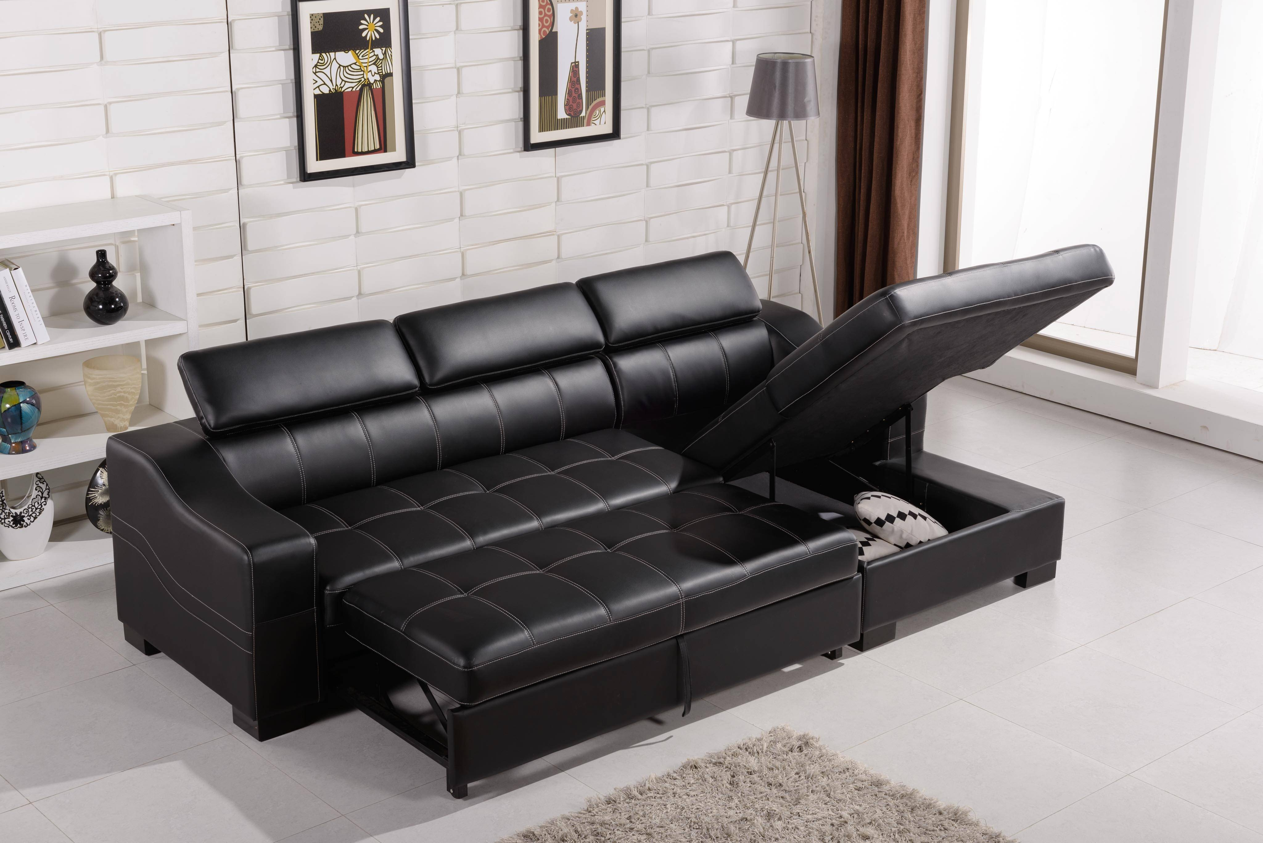 Funiture: Sleeper Sofa Ideas For Living Room Using Black Leather throughout Leather Storage Sofas (Image 12 of 30)