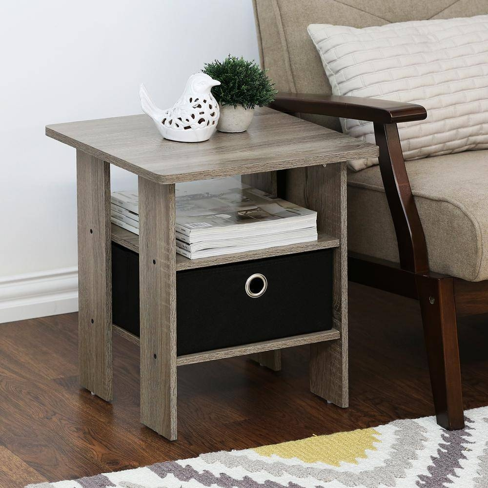Furinno Home Living French Oak Grey Storage End Table (Set Of 2)-2 with regard to Grey Coffee Table Sets (Image 15 of 30)