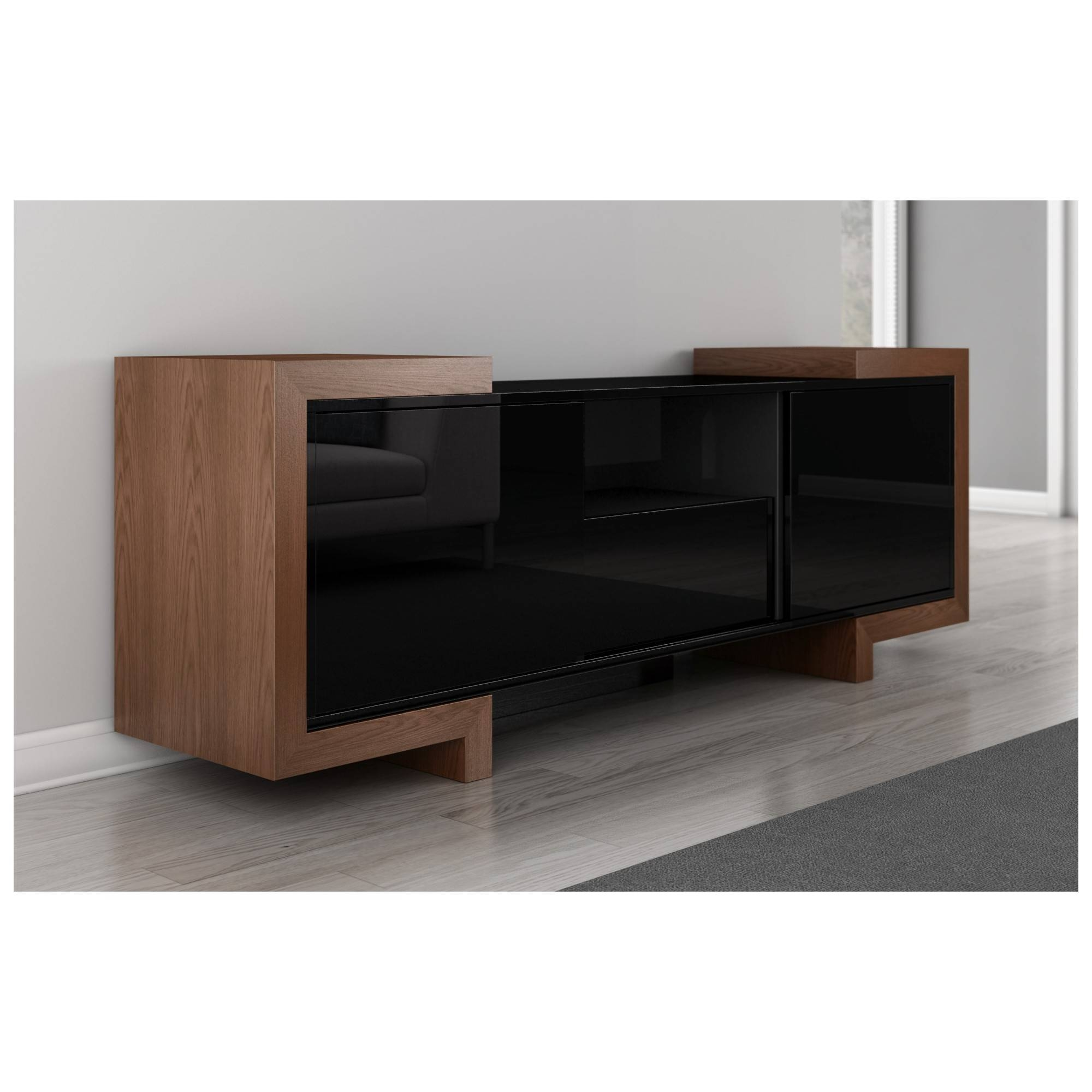 "Furnitech Ft75Fa 75"" Tv Stand Contemporary Media Cabinet In High with High Gloss Black Sideboards (Image 15 of 30)"
