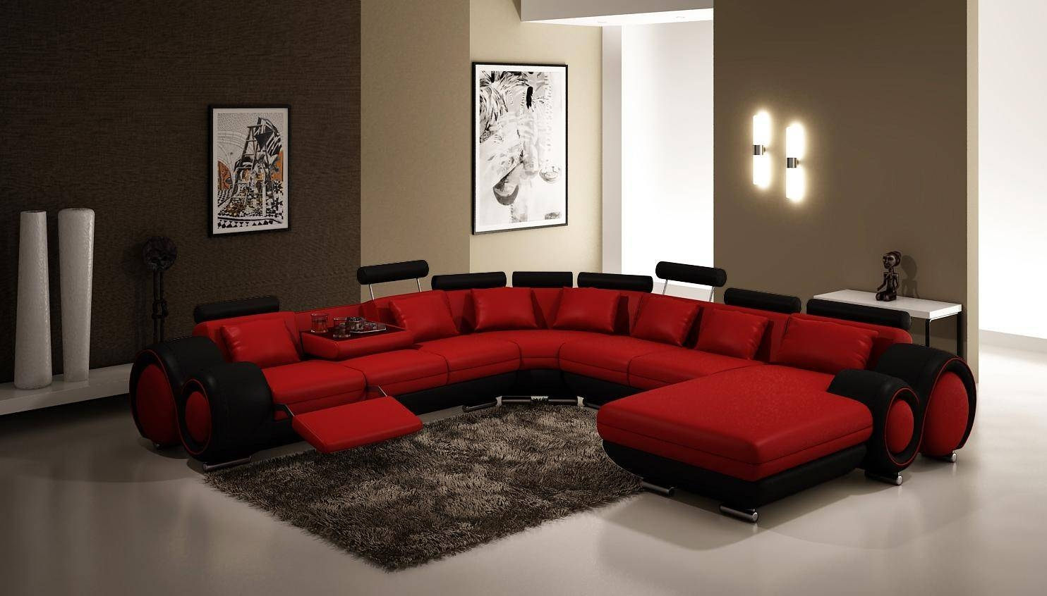 Furniture 4084 Contemporary Red And Black Sectional Sofa regarding Red Black Sectional Sofa (Image 12 of 30)