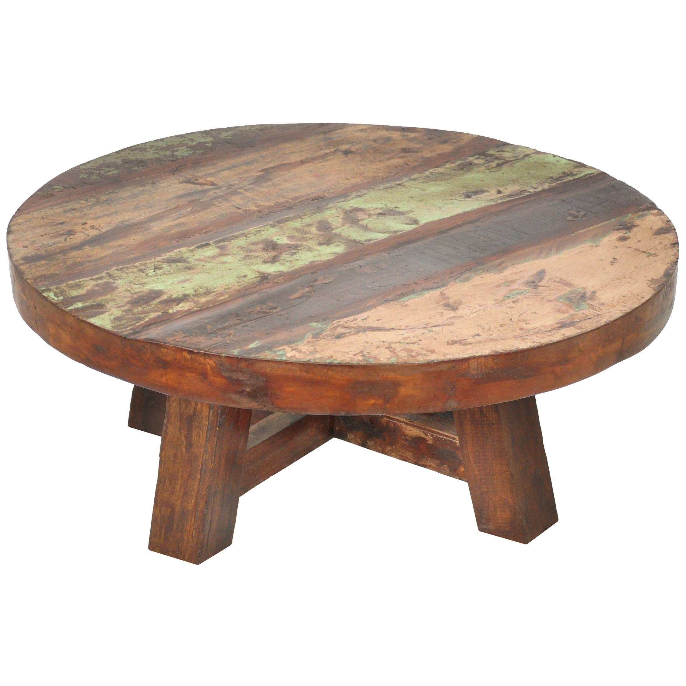 Furniture: Add Classic Style To Your Home With Weathered Coffee in Round Oak Coffee Tables (Image 11 of 30)