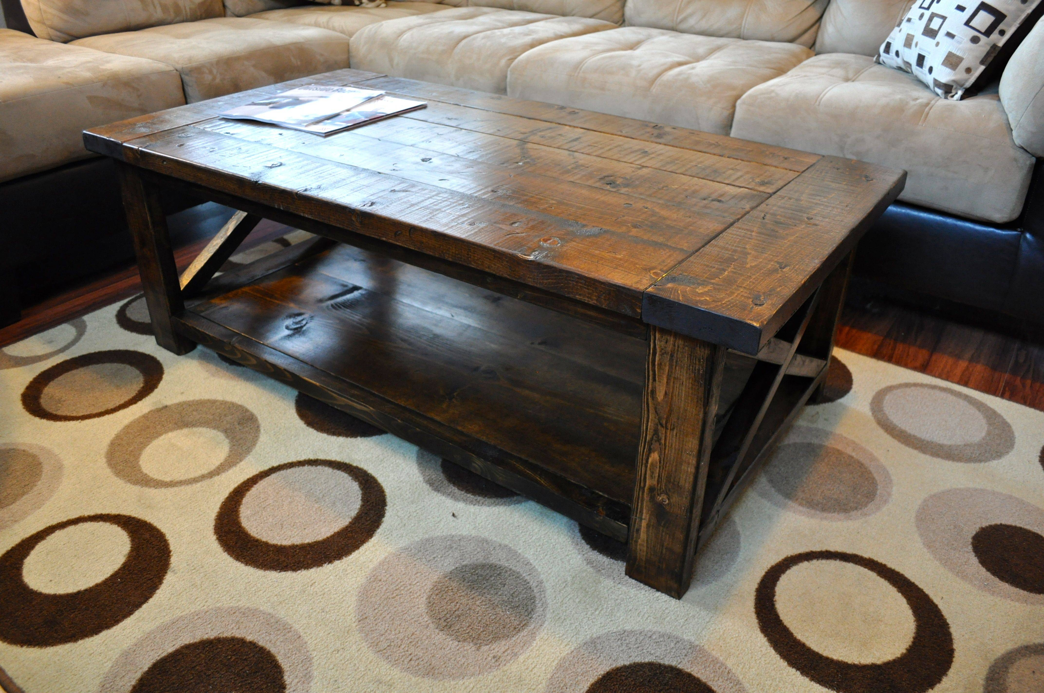 Furniture: Add Impact To Your Living Room Design With Farmhouse pertaining to Rustic Coffee Table With Wheels (Image 10 of 30)