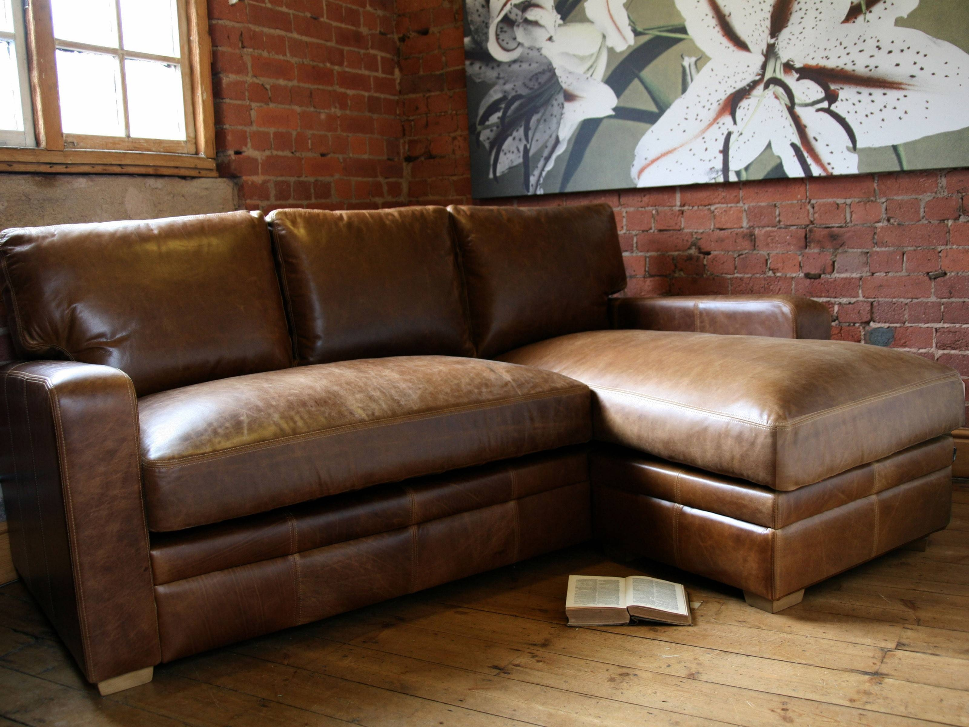 Furniture: Add Luxury To Your Home With Full Grain Leather throughout Leather Sofa Sectionals For Sale (Image 2 of 30)