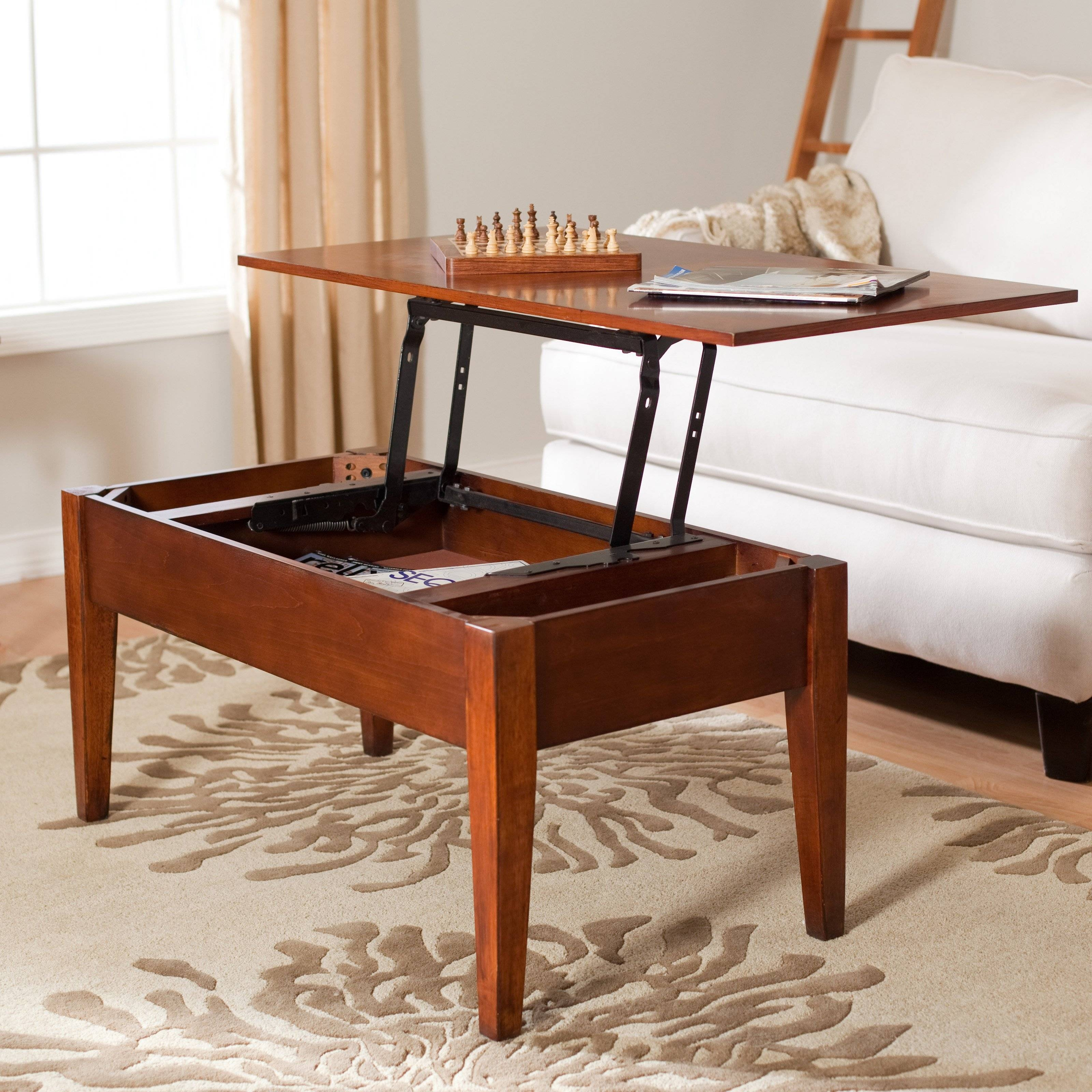 Furniture: Alluring Brown Wooden Rectangular Flip Top Coffee Table inside Flip Top Coffee Tables (Image 14 of 30)