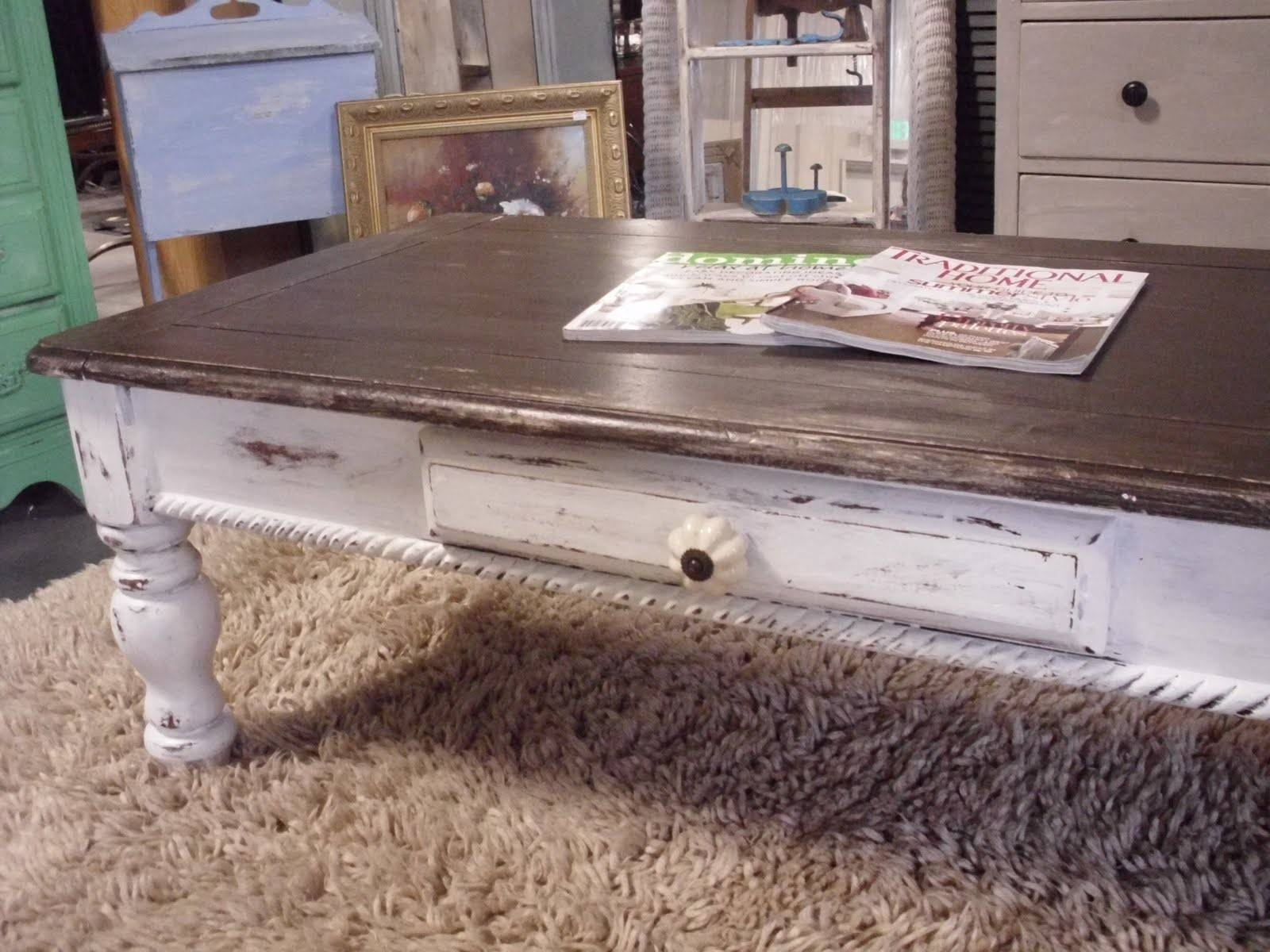 Furniture: Amazing White Distressed Coffee Table Designs throughout White Cottage Style Coffee Tables (Image 19 of 30)