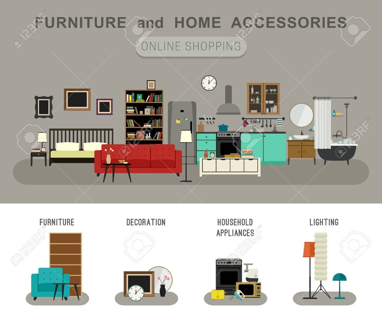 Furniture And Home Accessories Banner With Vector Flat Icons throughout Sofa Accessories (Image 12 of 30)