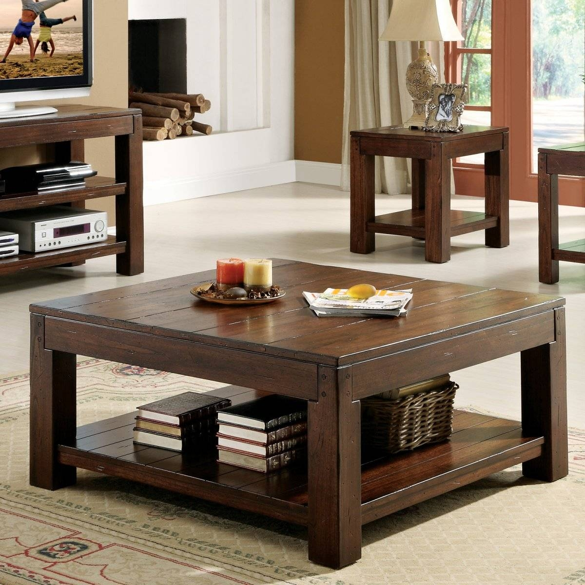 Furniture: Attractive Square Coffee Table For Modern Living Room inside Square Coffee Tables With Storage (Image 16 of 30)