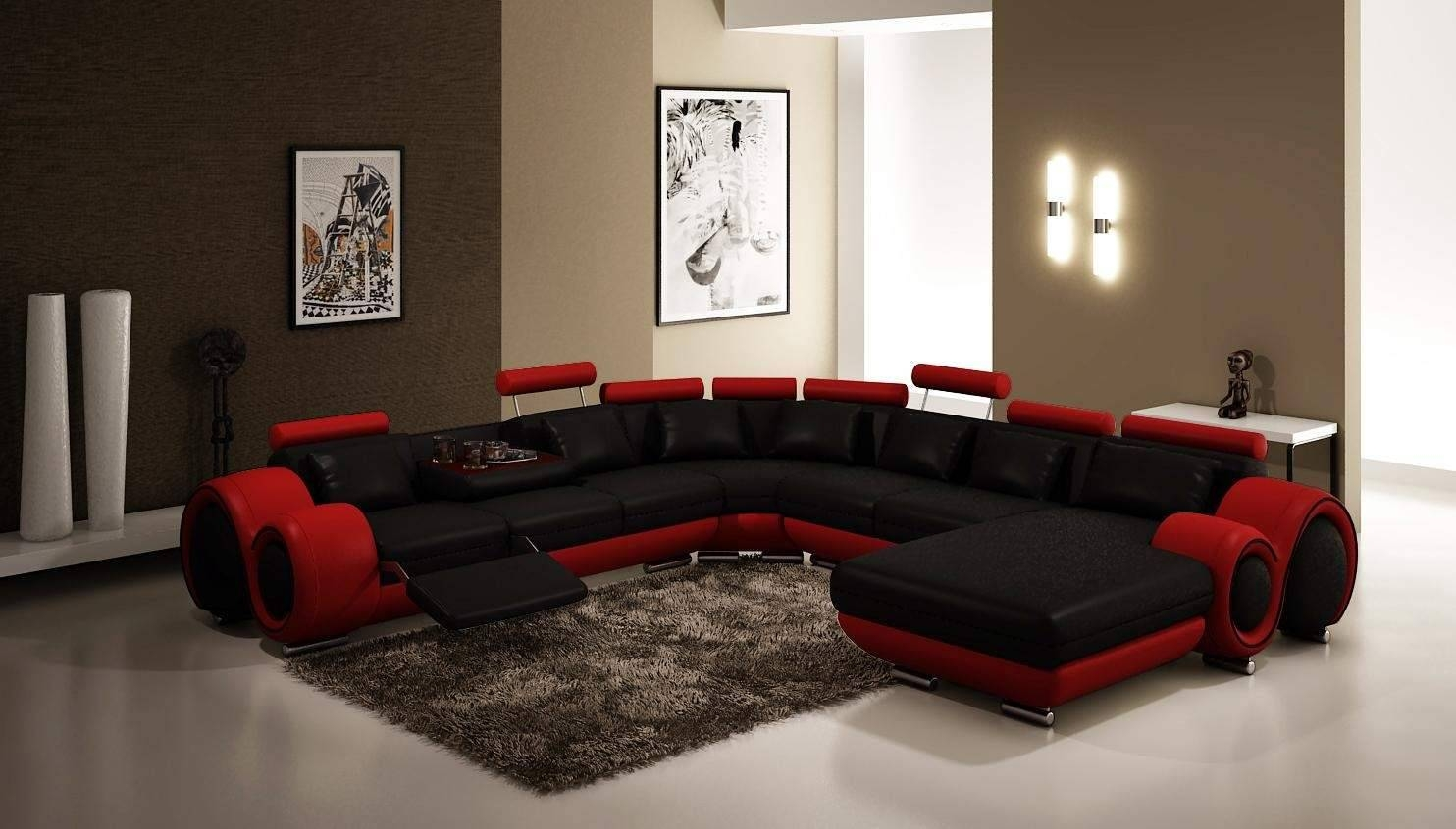 Furniture: Awesome Living Room Design With Contemporary Sectional in Modern Microfiber Sectional Sofa (Image 14 of 30)