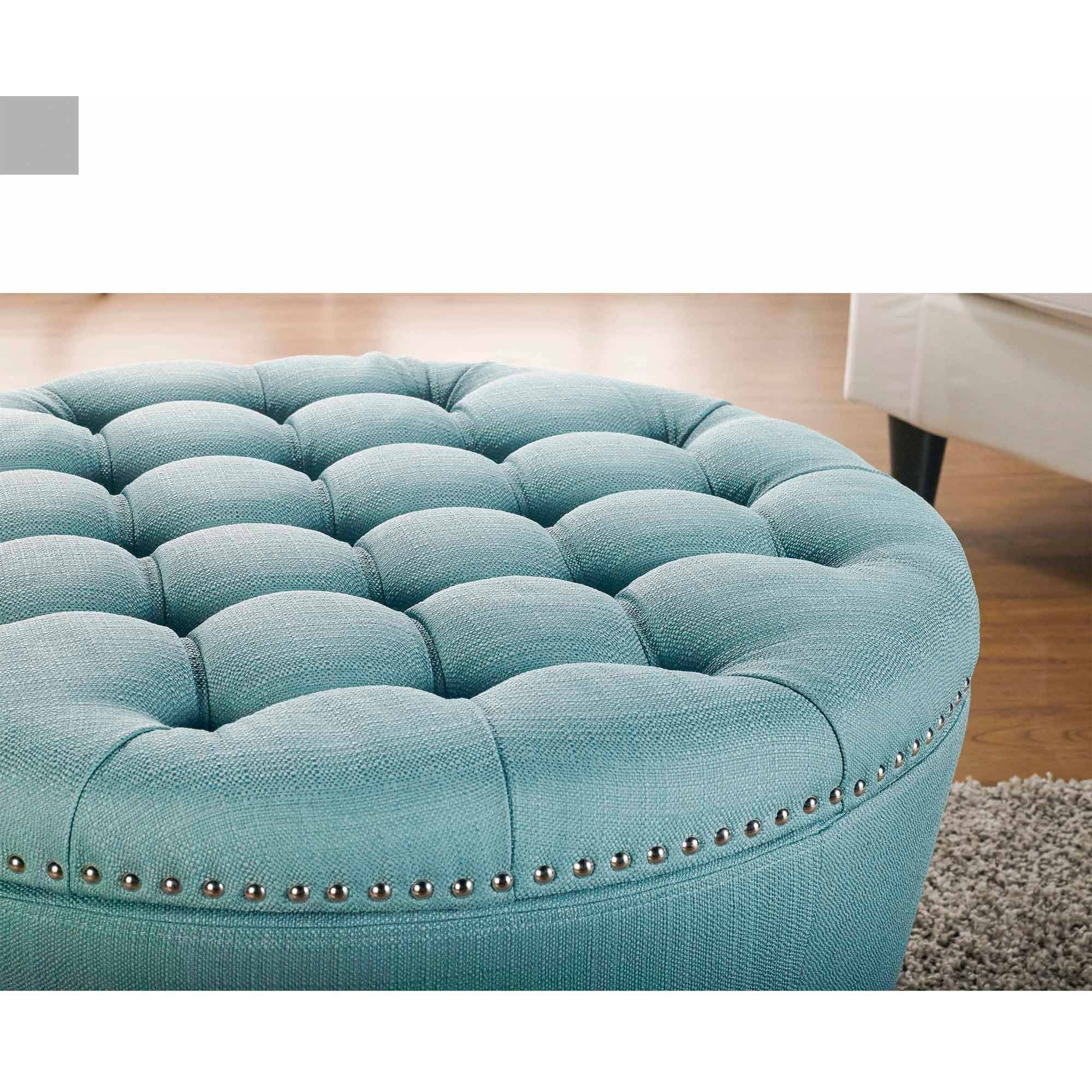 Furniture: Beautiful Blue Storage Ottoman For Living Room Design in Green Ottoman Coffee Tables (Image 10 of 30)