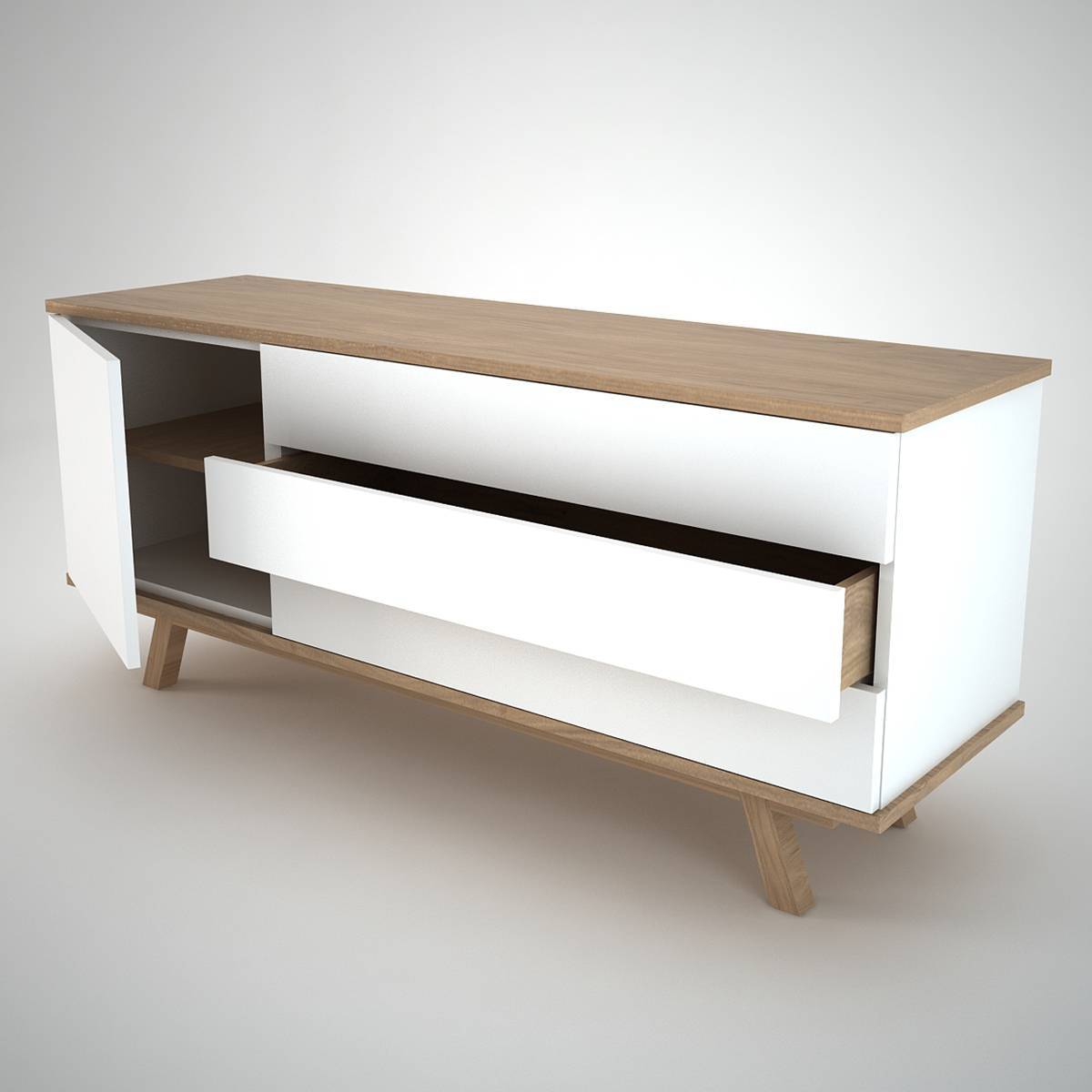 Furniture: Beautiful Profile Modern Sideboard For Living Room in White And Wood Sideboards (Image 6 of 30)