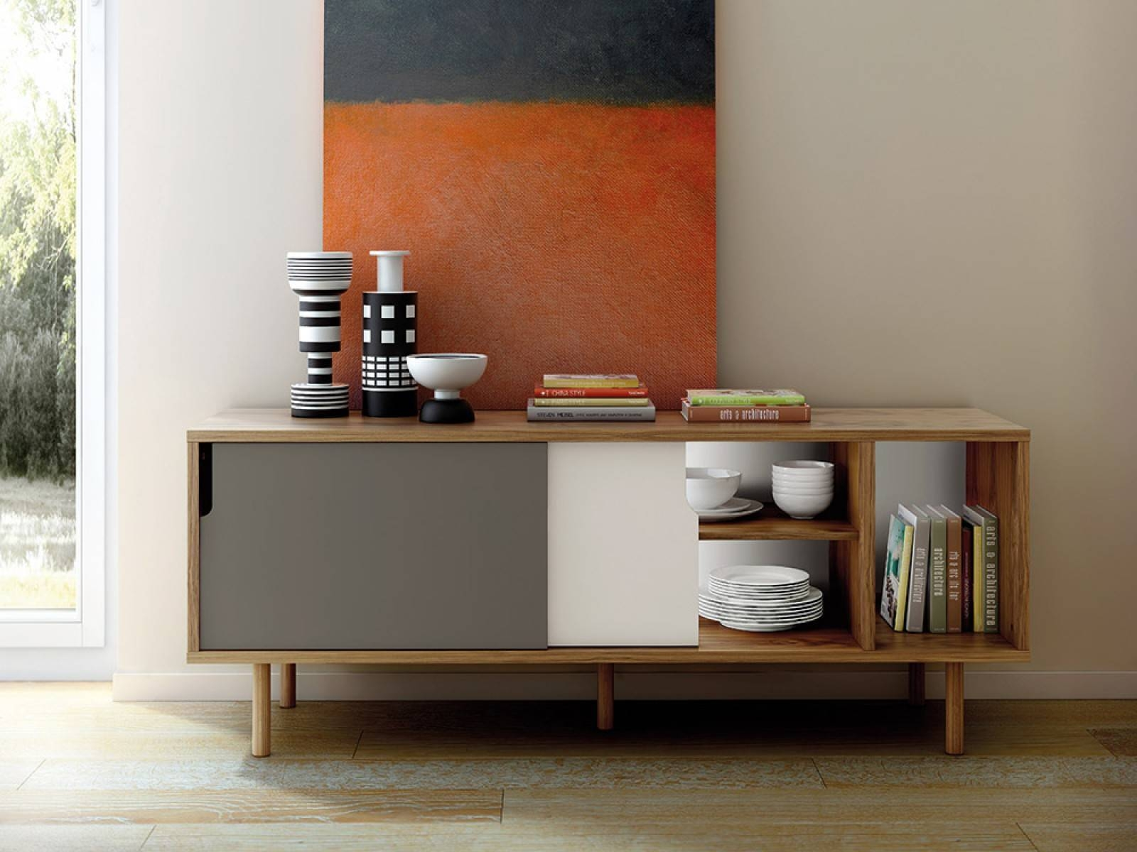 Furniture: Beautiful Profile Modern Sideboard For Living Room regarding Contemporary Sideboards (Image 15 of 30)