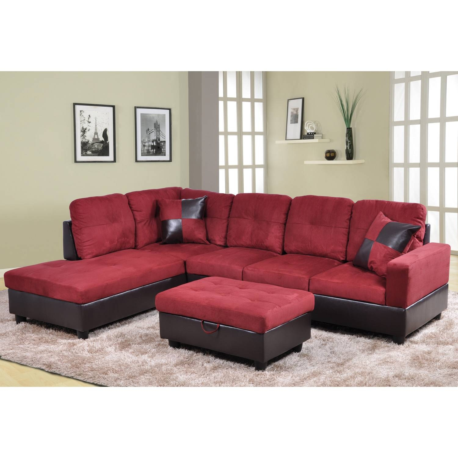 Furniture: Beautiful Sectional Sofas Cheap For Living Room for Red Microfiber Sectional Sofas (Image 7 of 30)