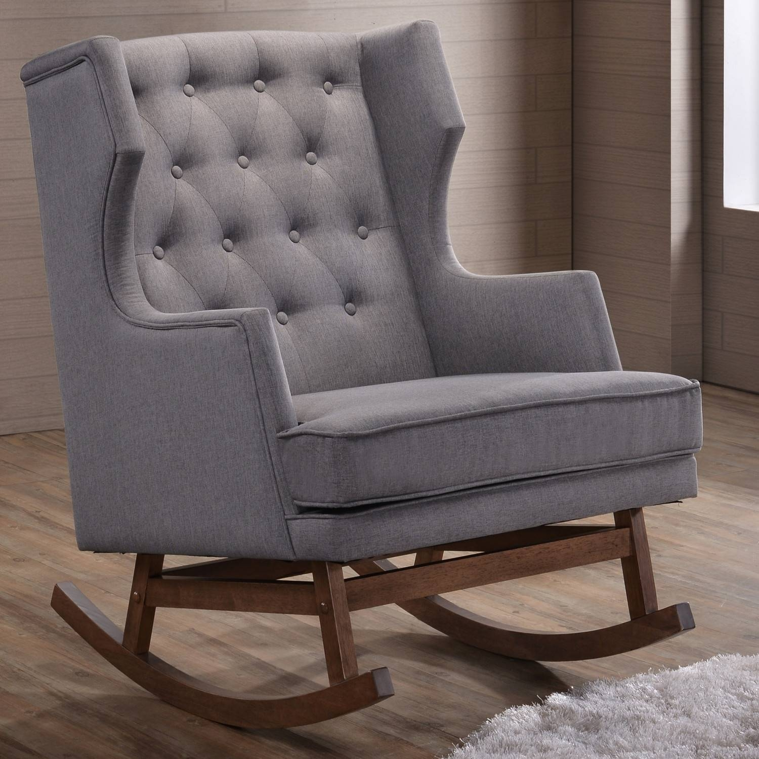 Furniture: Beautiful Upholstered Rocking Chair For Home Furniture in Narrow Armchairs (Image 14 of 30)