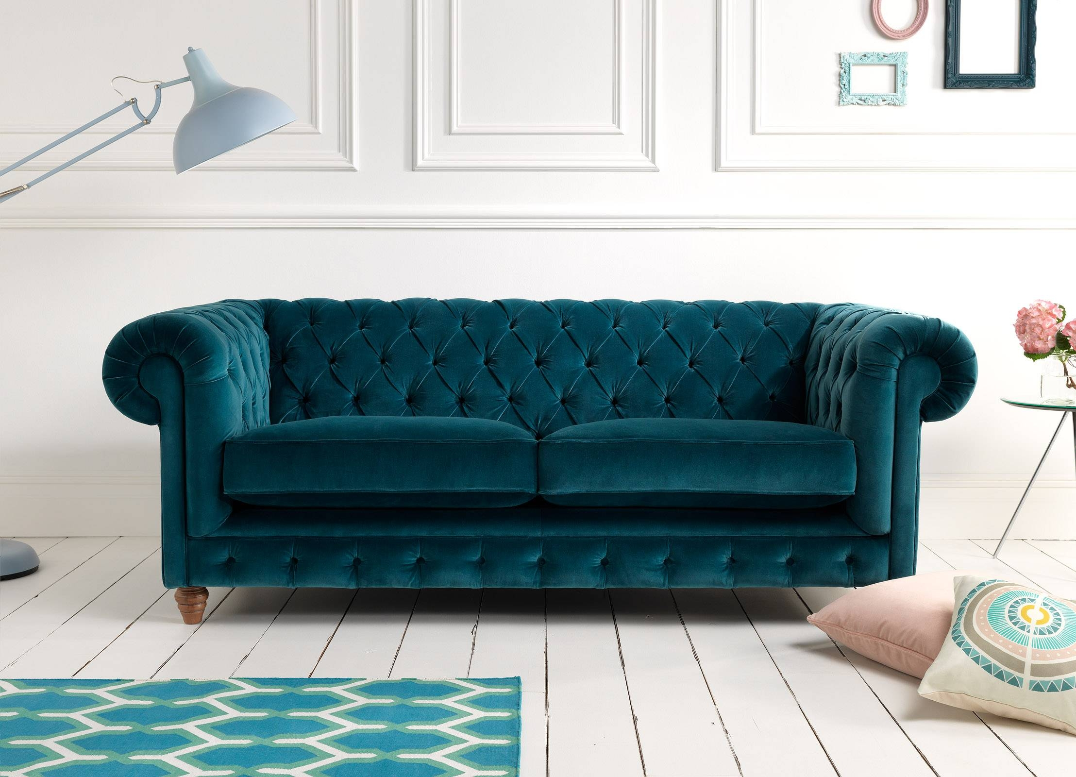 Furniture: Beautiful Velvet Couch For Living Room Furniture Ideas regarding Blue Tufted Sofas (Image 13 of 30)