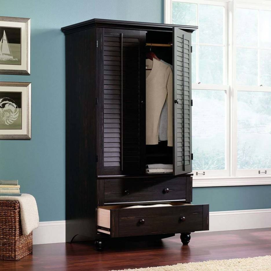 Furniture Bedroom Furniture Design Of Dark Armoire Wardrobe intended for Wicker Armoire Wardrobes (Image 7 of 15)