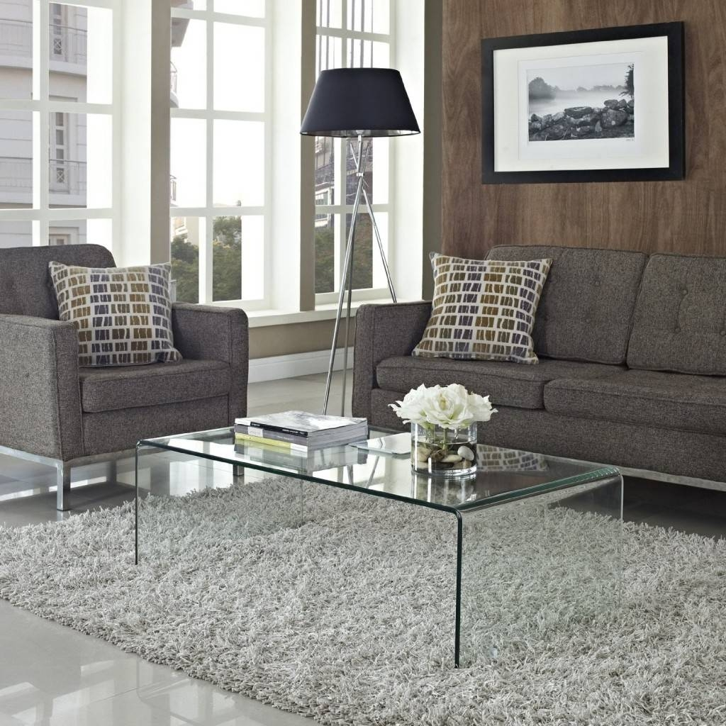 Furniture : Beige Fabric Loveseat Sofa Subtle Transparent Glass with Transparent Glass Coffee Tables (Image 15 of 30)
