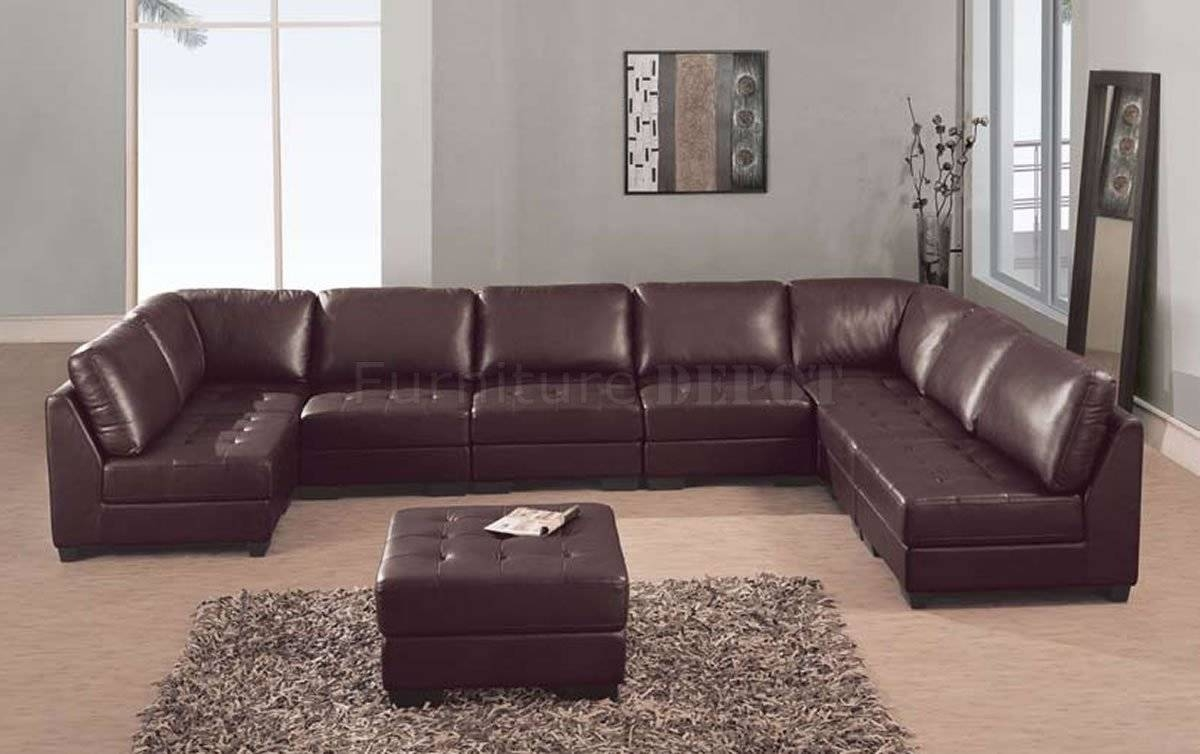 Furniture: Best Design Of Brown Leather Sectional For Modern for 7 Seat Sectional Sofa (Image 3 of 30)