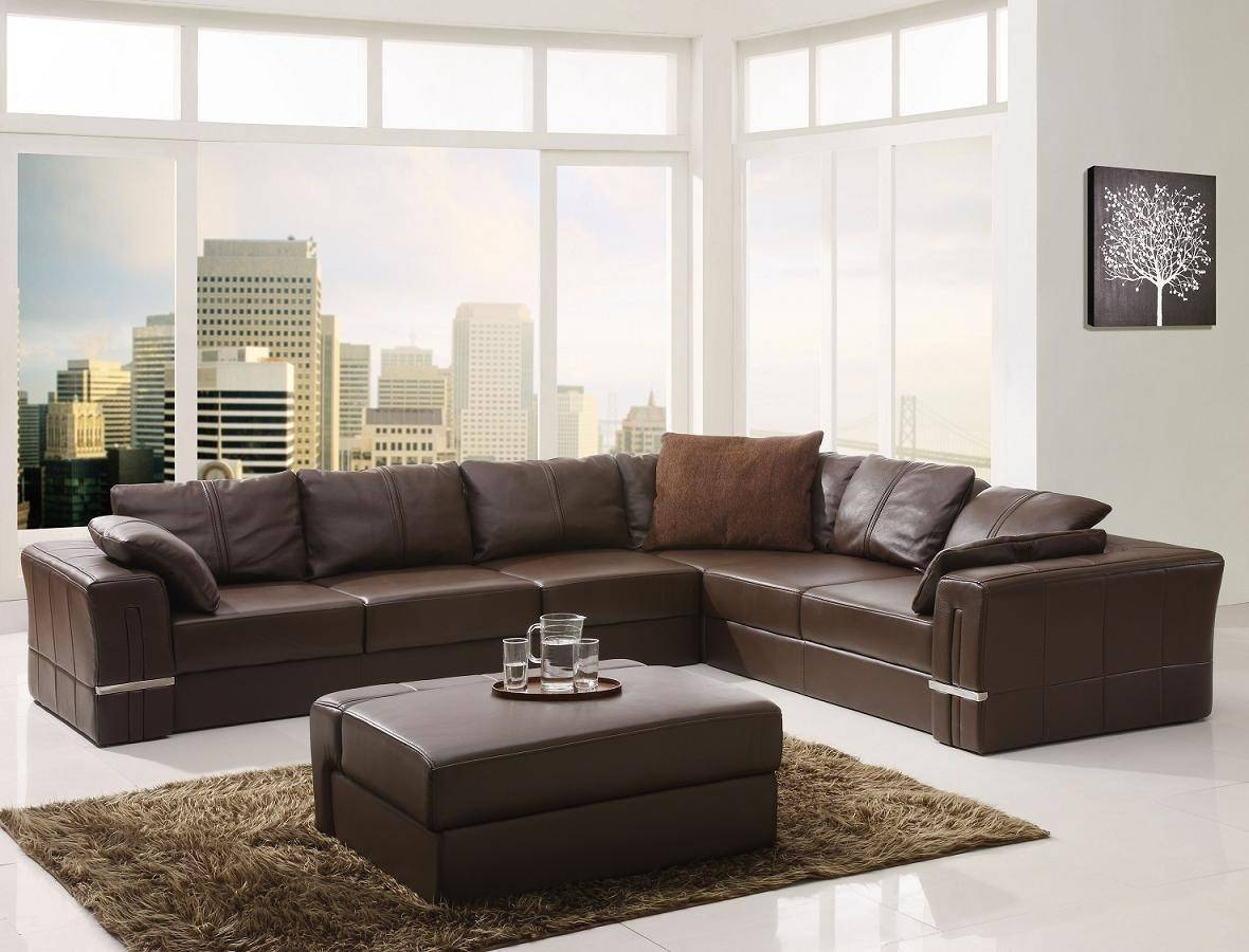 Furniture: Best Design Of Brown Leather Sectional For Modern for Leather L Shaped Sectional Sofas (Image 9 of 30)