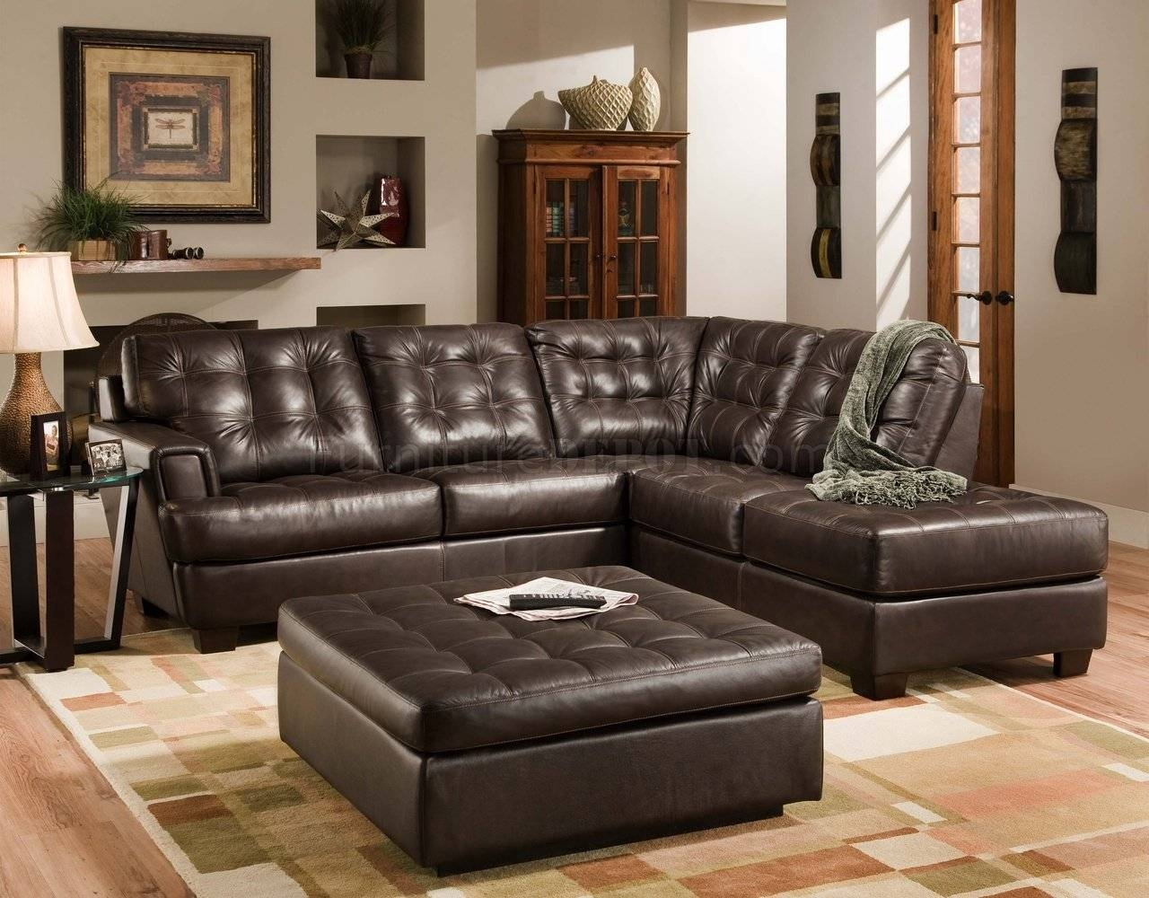 Furniture: Best Design Of Brown Leather Sectional For Modern regarding Leather Modular Sectional Sofas (Image 7 of 30)