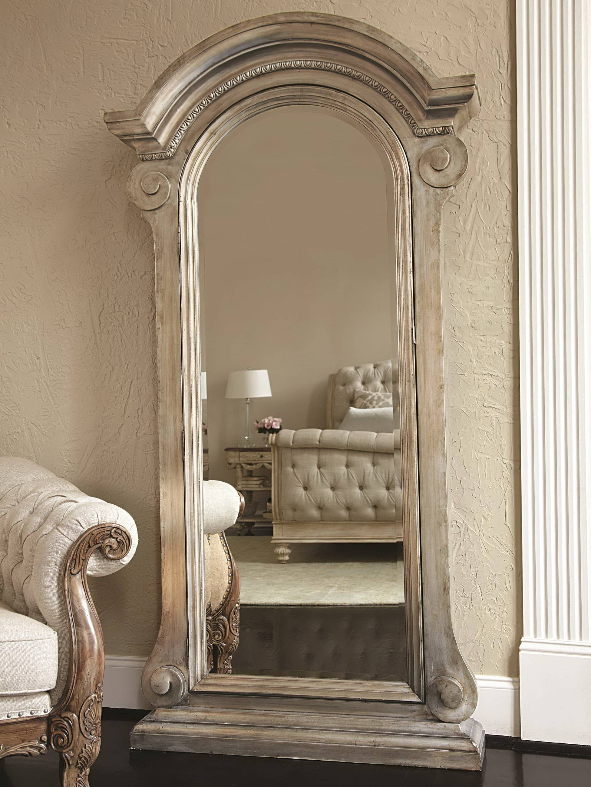 Furniture: Black Jewelry Armoire Mirror On Wooden Floor And Cream with Cream Standing Mirrors (Image 15 of 25)