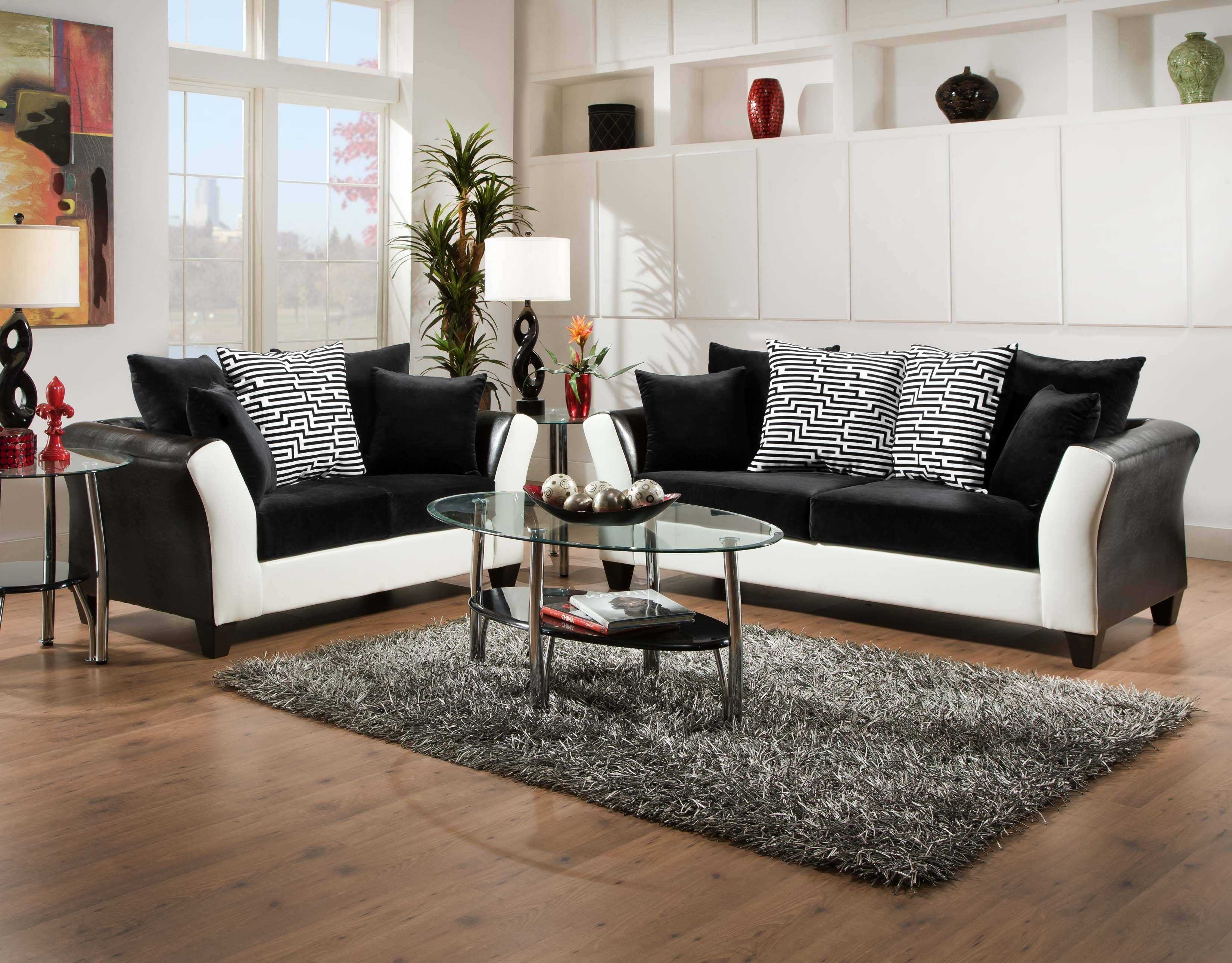 Furniture: Black Leather Cheap Loveseats With Wooden Floor And Rug inside Cheap Black Sofas (Image 9 of 30)