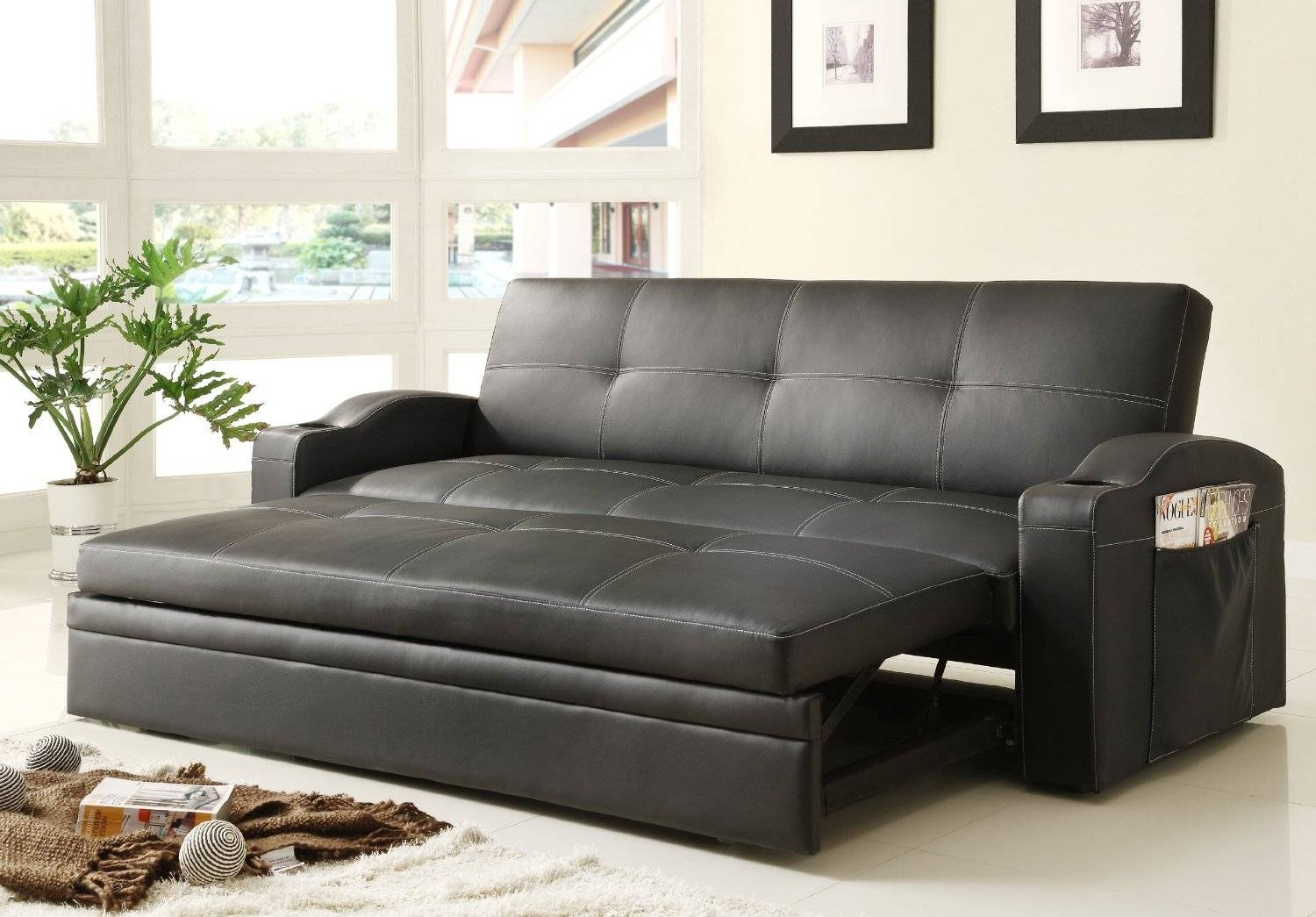 Furniture. Black Leather Sleeper Sofa Combined With Table Lamp On regarding Black Leather Sectional Sleeper Sofas (Image 12 of 30)