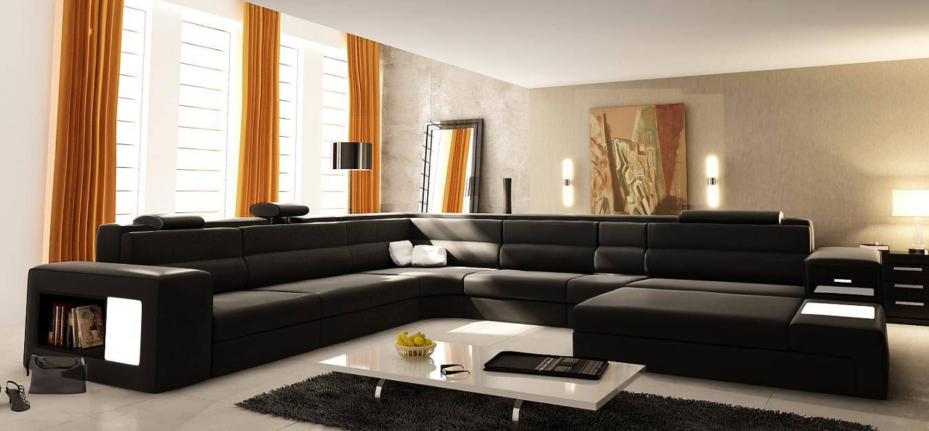 Featured Photo of U Shaped Leather Sectional Sofa