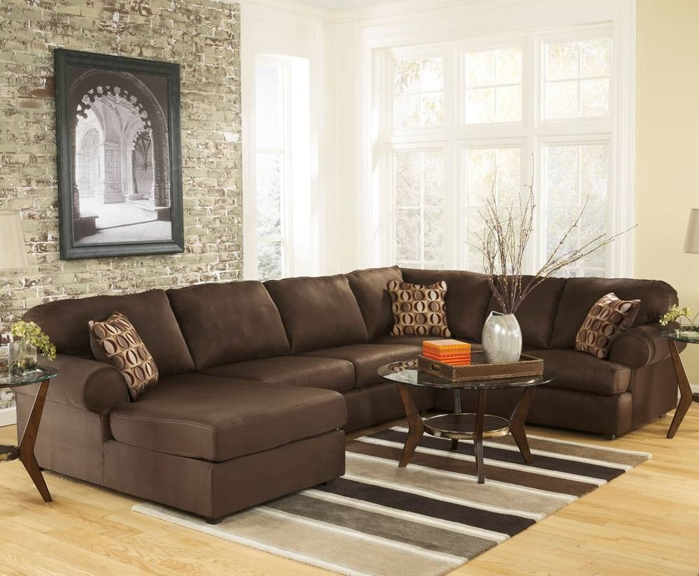 Furniture: Black Leather U Shaped Sectional Sofa With Arch Lamp within U Shaped Leather Sectional Sofa (Image 6 of 25)