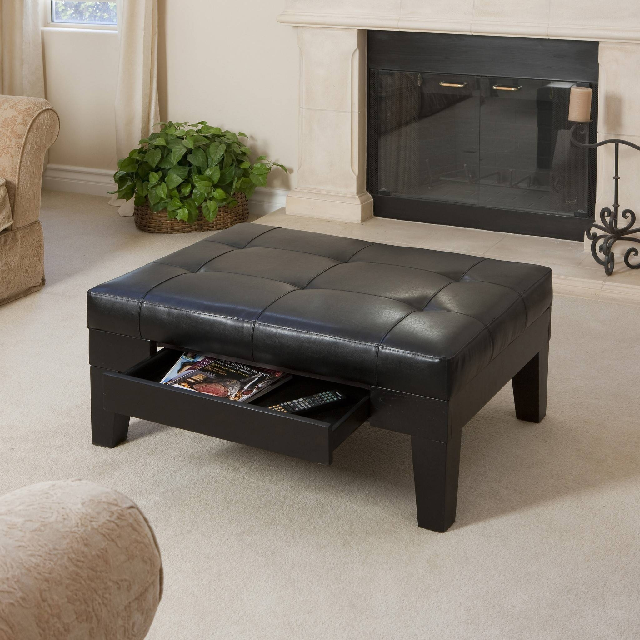 Furniture. Black Ottoman Coffee Table Design Ideas: Square Vintage in Coffee Tables With Magazine Storage (Image 16 of 30)