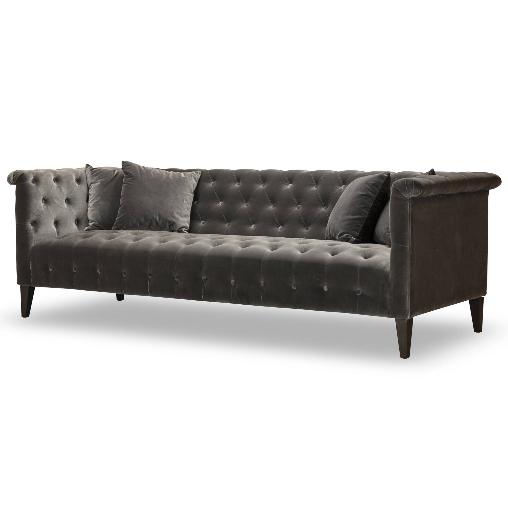 Furniture: Black Velvet Sofas Velvet Tufted Sofa throughout Black Velvet Sofas (Image 11 of 30)