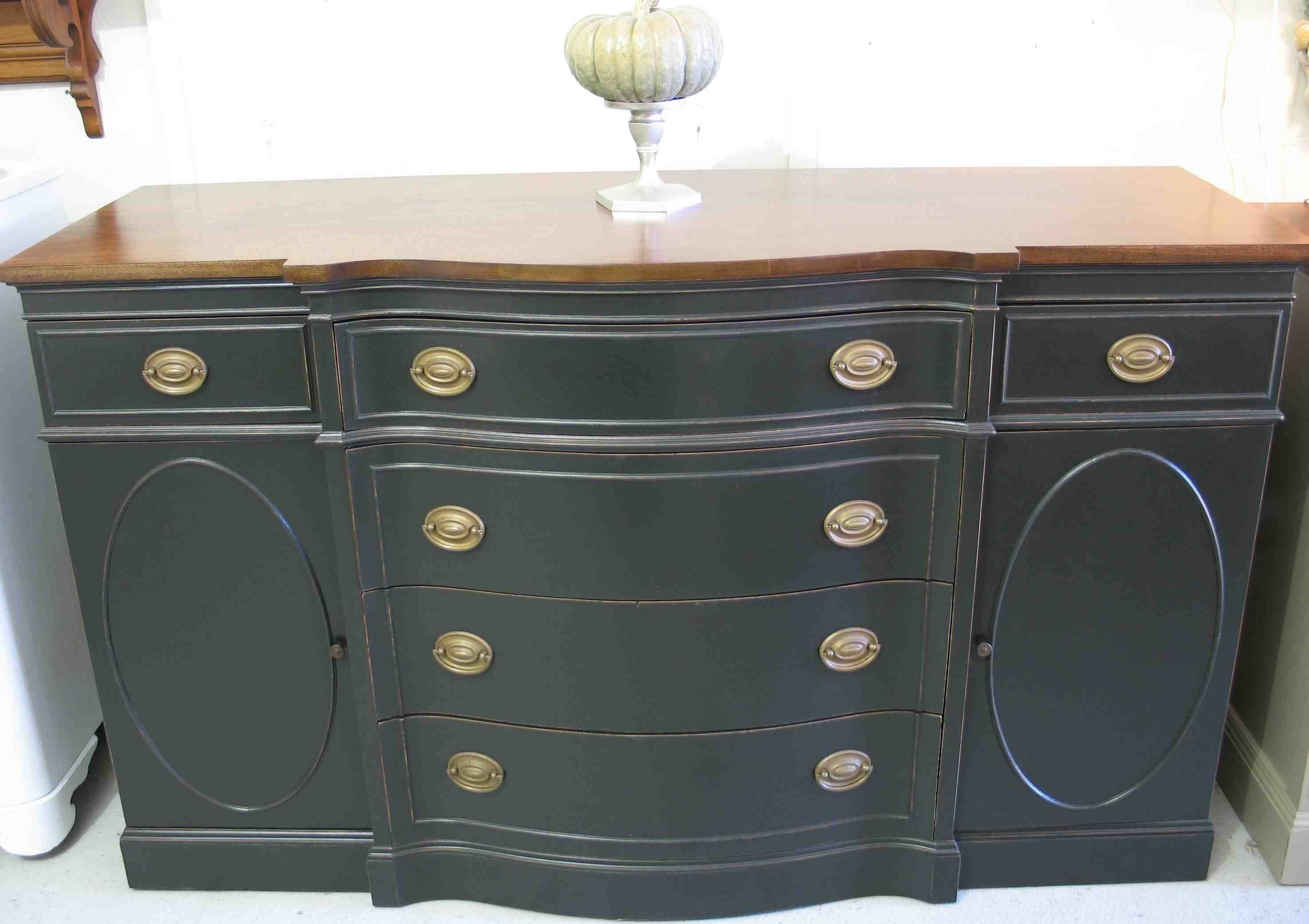 Furniture. Black Wooden Sideboard Table With Drawers And Claw Legs with regard to Black Wood Sideboards (Image 7 of 30)
