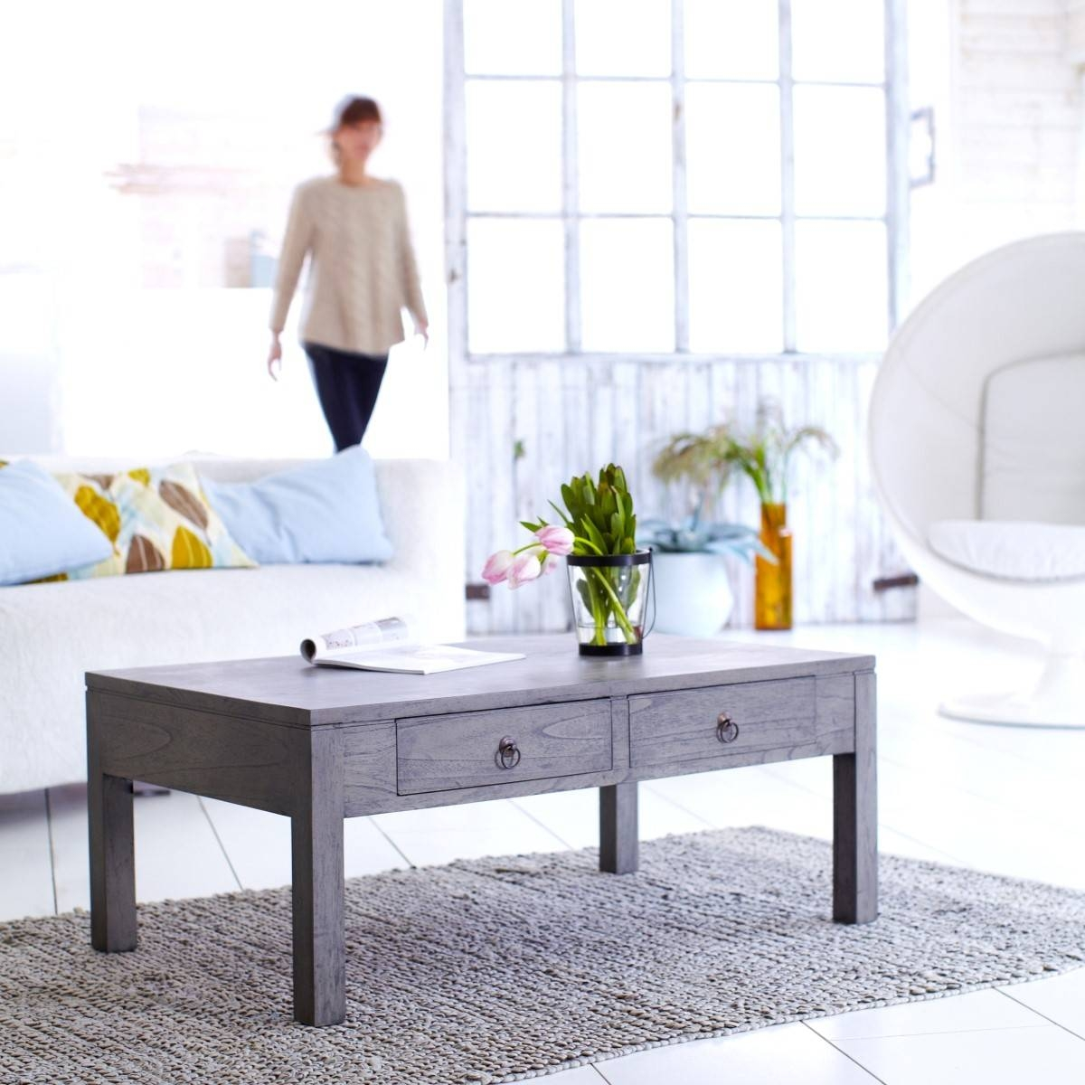 Furniture. Breathtaking White Wood Coffee Table Ideas: Rectangle intended for Grey Wood Coffee Tables (Image 13 of 30)