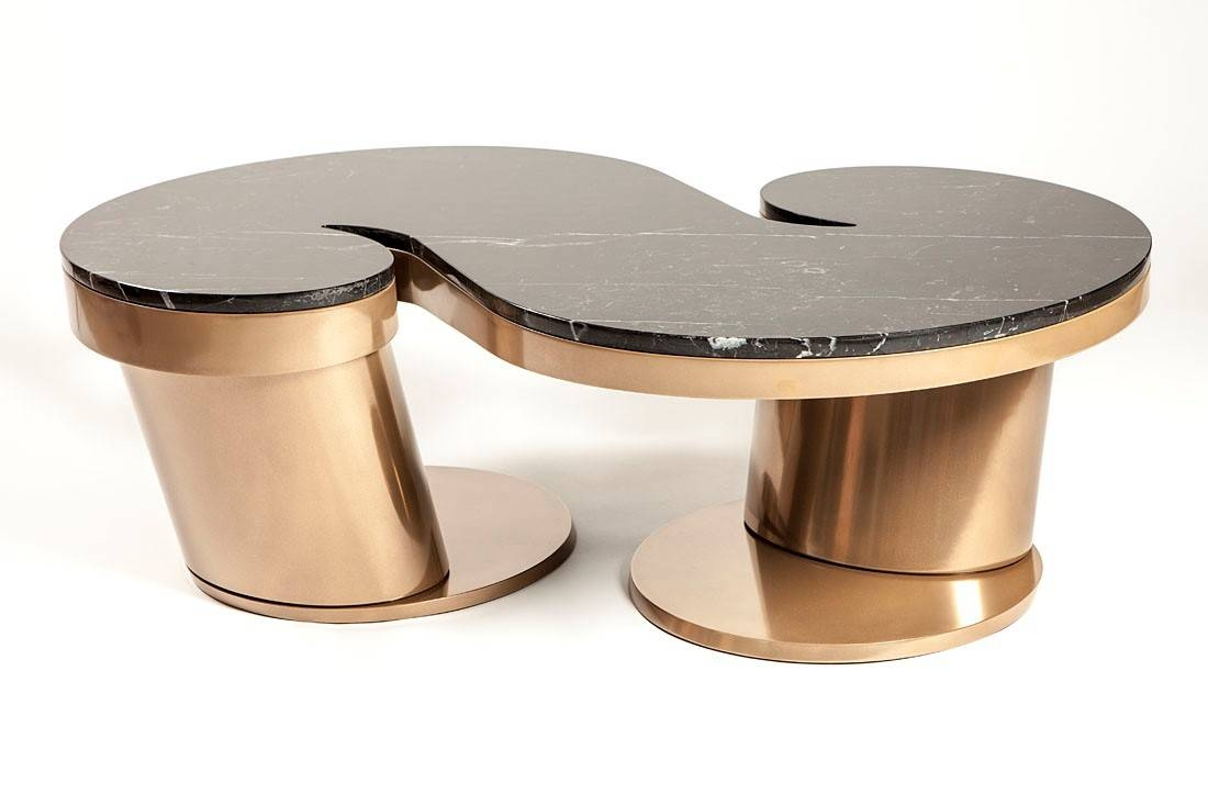 Furniture Bronze Coffee Table Design Ideas: Golden S Shaped with regard to Bronze Coffee Tables (Image 16 of 30)