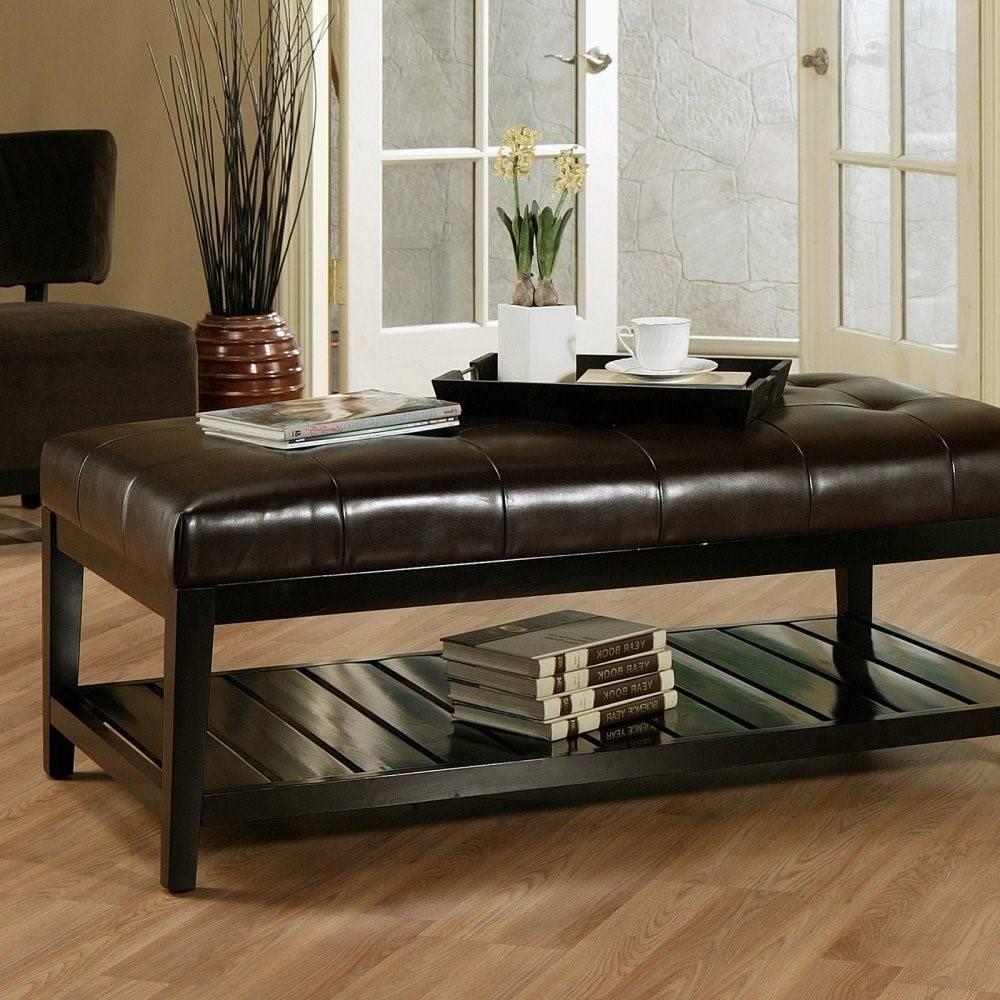 Furniture. Brown Leather Ottoman Coffee Table Design Ideas pertaining to Brown Leather Ottoman Coffee Tables (Image 19 of 30)