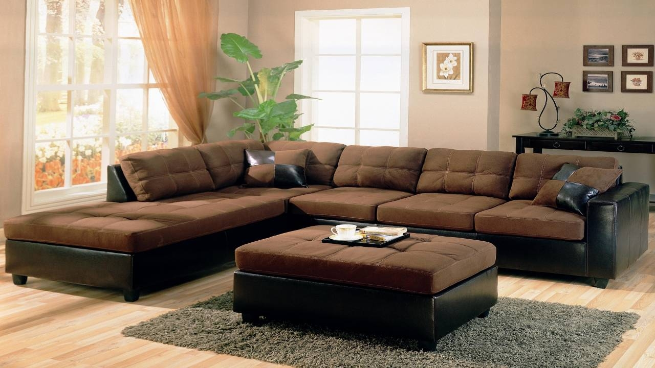 Furniture: Brown Leather Sectional | Brown Leather Sectional for Chocolate Brown Sectional Sofa (Image 15 of 30)