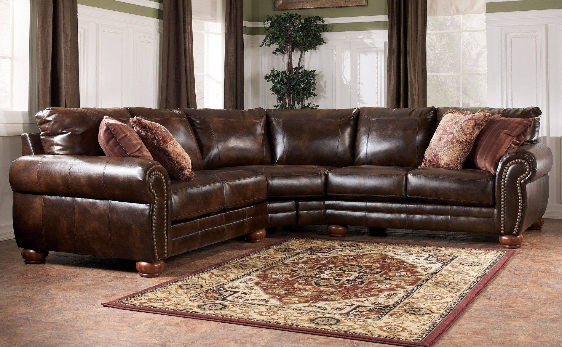 Furniture: Brown Leather Sectional | Brown Leather Sectional pertaining to Cuddler Sectional Sofa (Image 13 of 30)