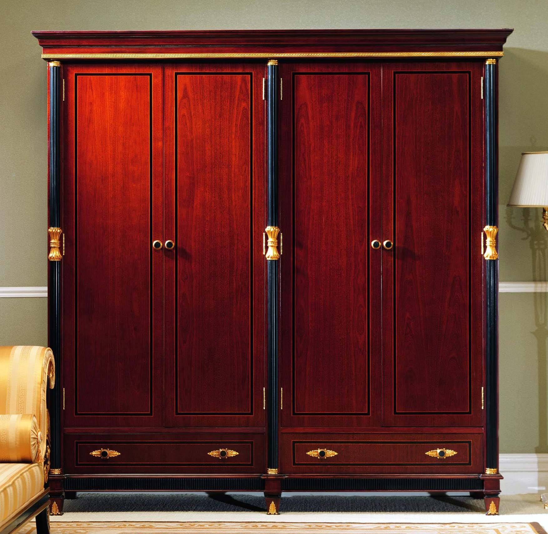 Furniture. Brown Polished Wooden Wardrobe Closet With Black Frame for Dark Wood Wardrobe With Drawers (Image 15 of 30)