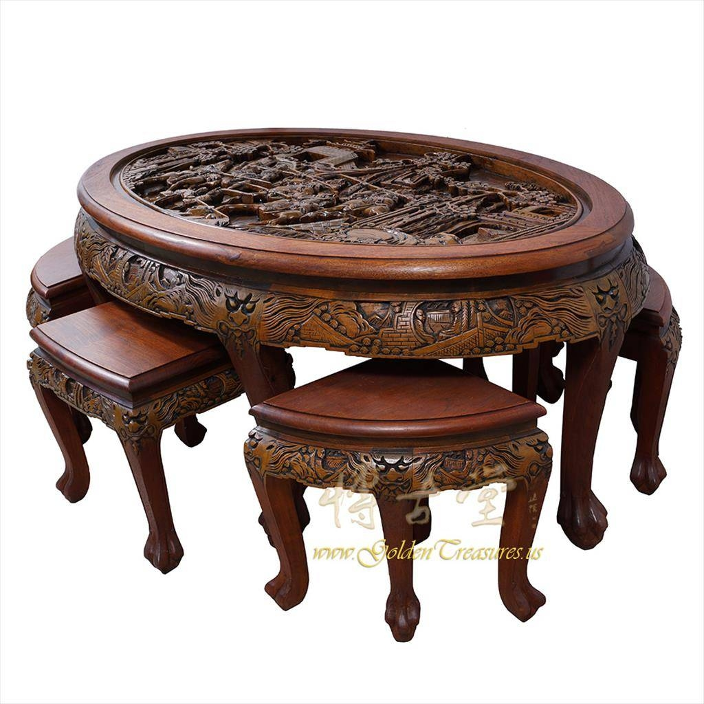 Furniture: Buying Coffee Table With Stools In Good Price Table for Chinese Coffee Tables (Image 22 of 30)